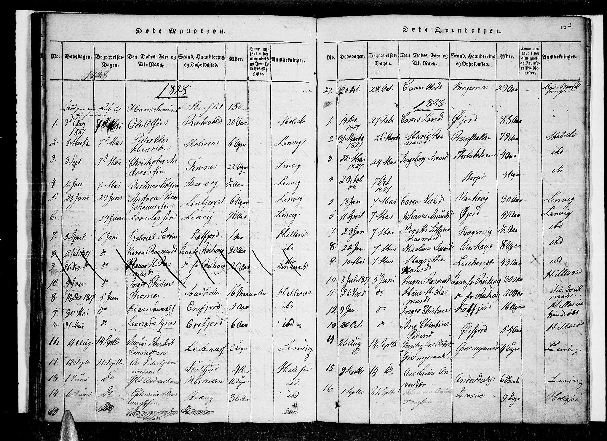 SATØ, Lenvik sokneprestembete, H/Ha/Haa/L0003kirke: Ministerialbok nr. 3, 1820-1831, s. 104