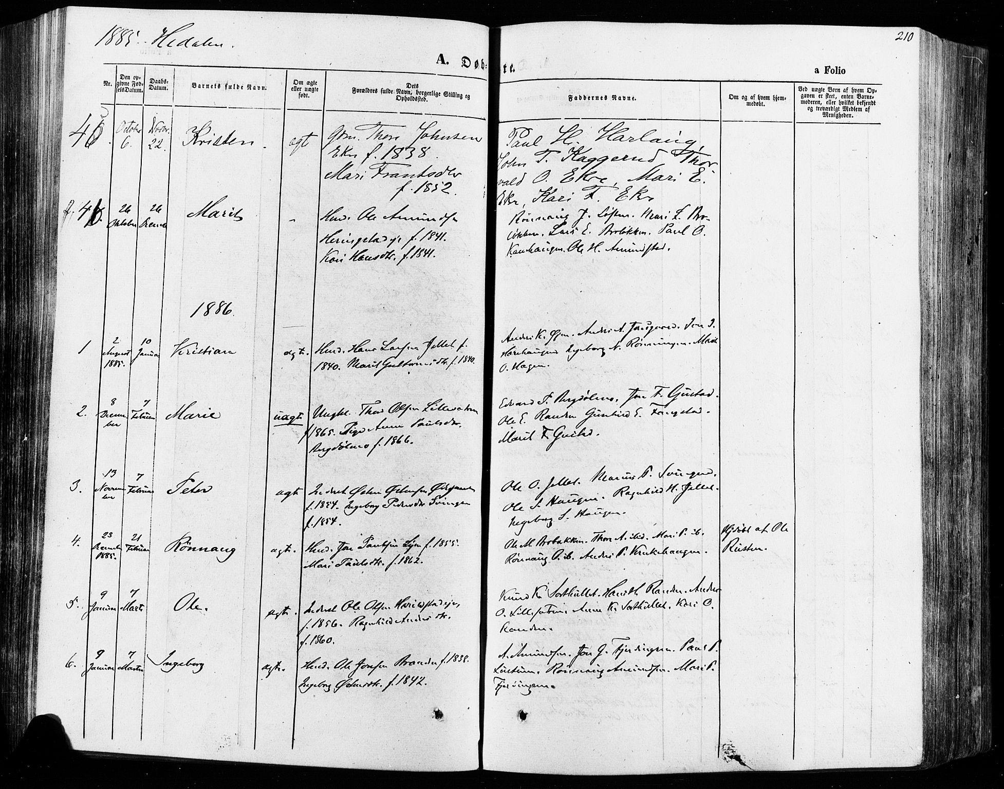 SAH, Vågå prestekontor, Ministerialbok nr. 7 /2, 1873-1886, s. 210