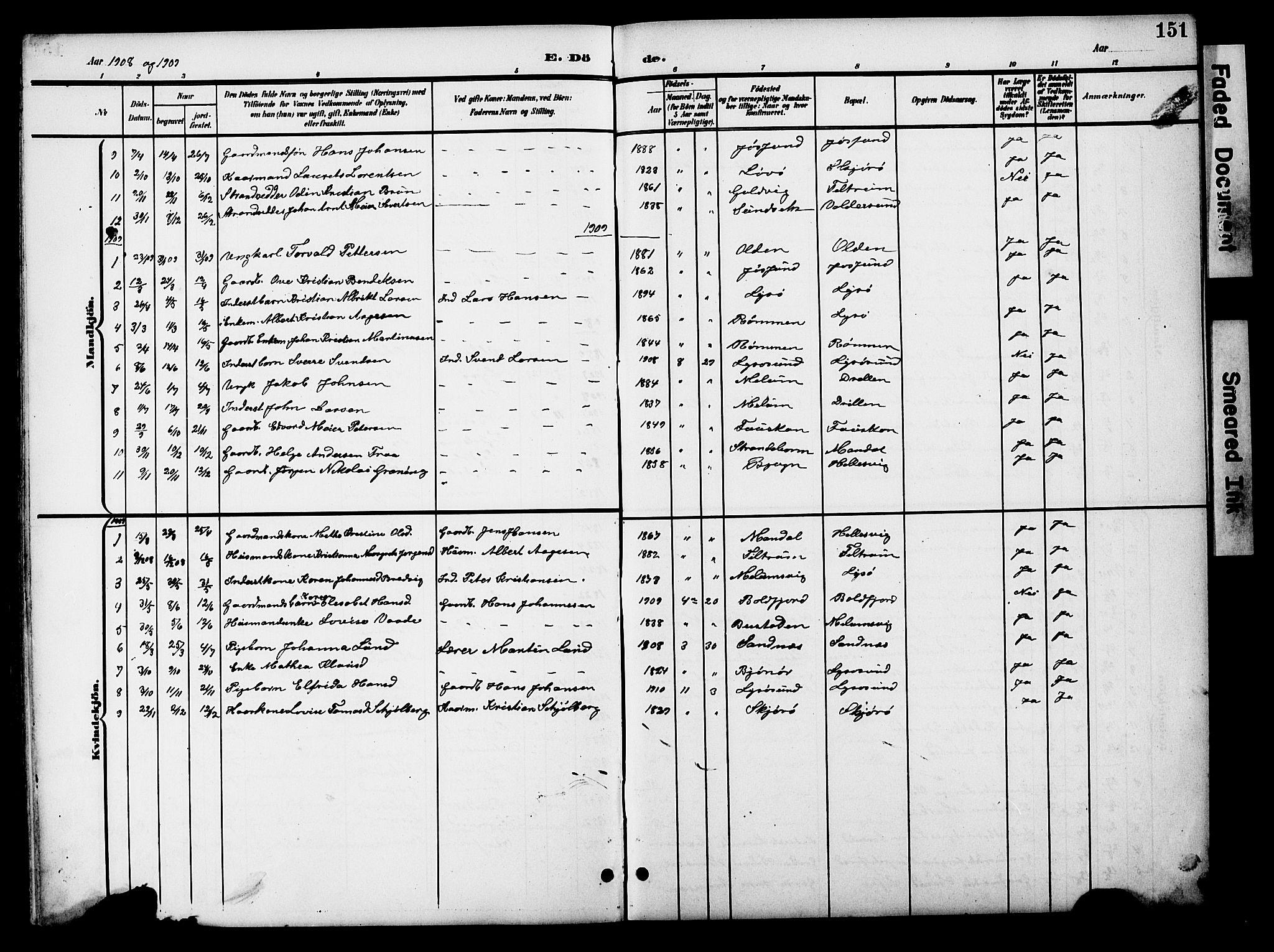 SAT, Ministerialprotokoller, klokkerbøker og fødselsregistre - Sør-Trøndelag, 654/L0666: Klokkerbok nr. 654C02, 1901-1925, s. 151