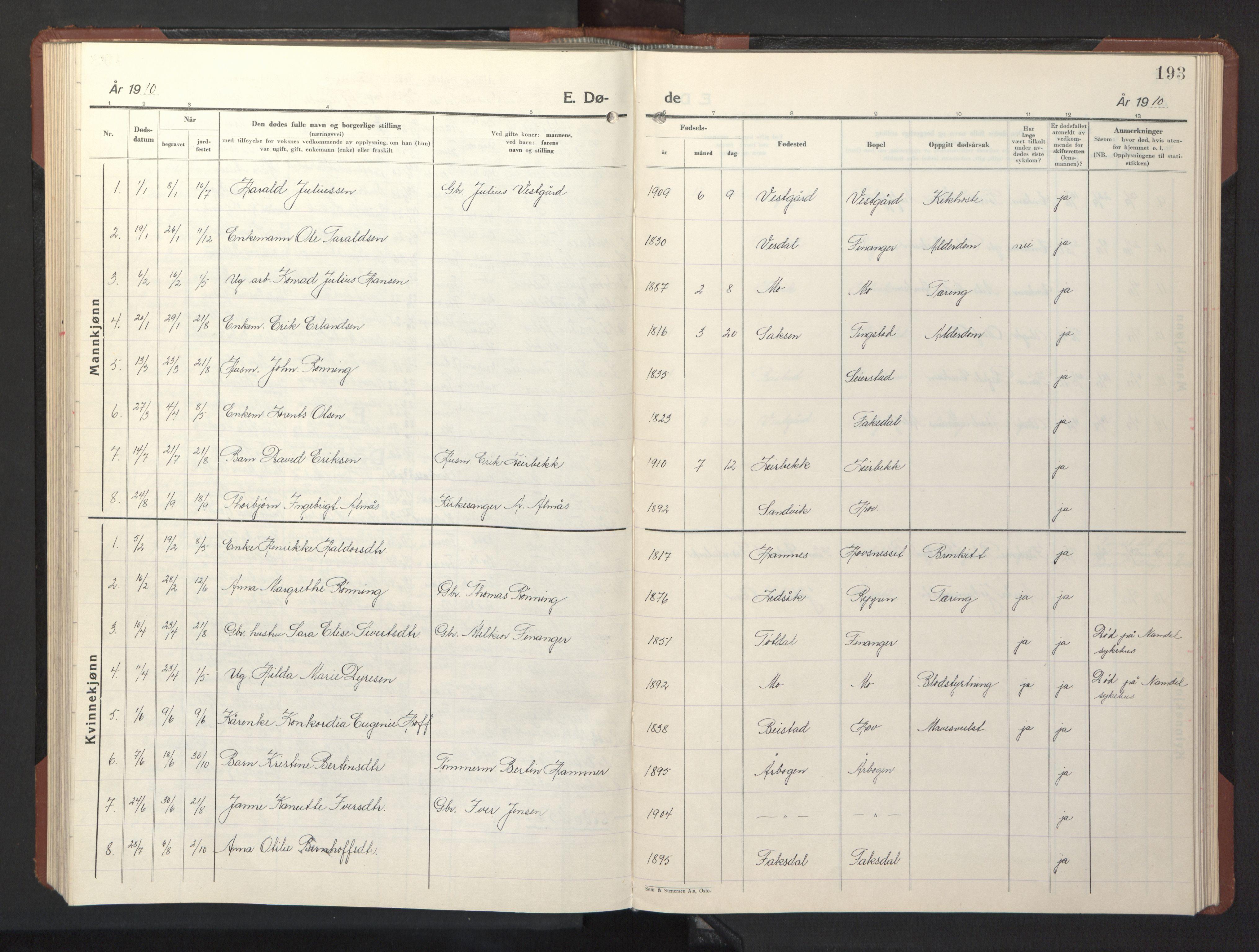 SAT, Ministerialprotokoller, klokkerbøker og fødselsregistre - Nord-Trøndelag, 773/L0625: Klokkerbok nr. 773C01, 1910-1952, s. 193