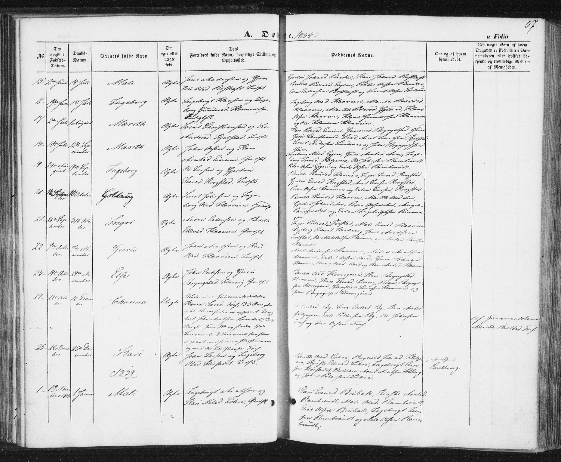 SAT, Ministerialprotokoller, klokkerbøker og fødselsregistre - Sør-Trøndelag, 692/L1103: Ministerialbok nr. 692A03, 1849-1870, s. 57