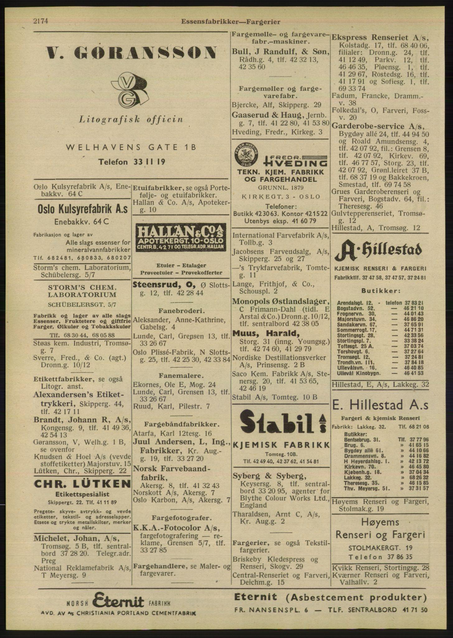 RA, Oslo adressebok (publikasjon)*, 1947, s. 2174