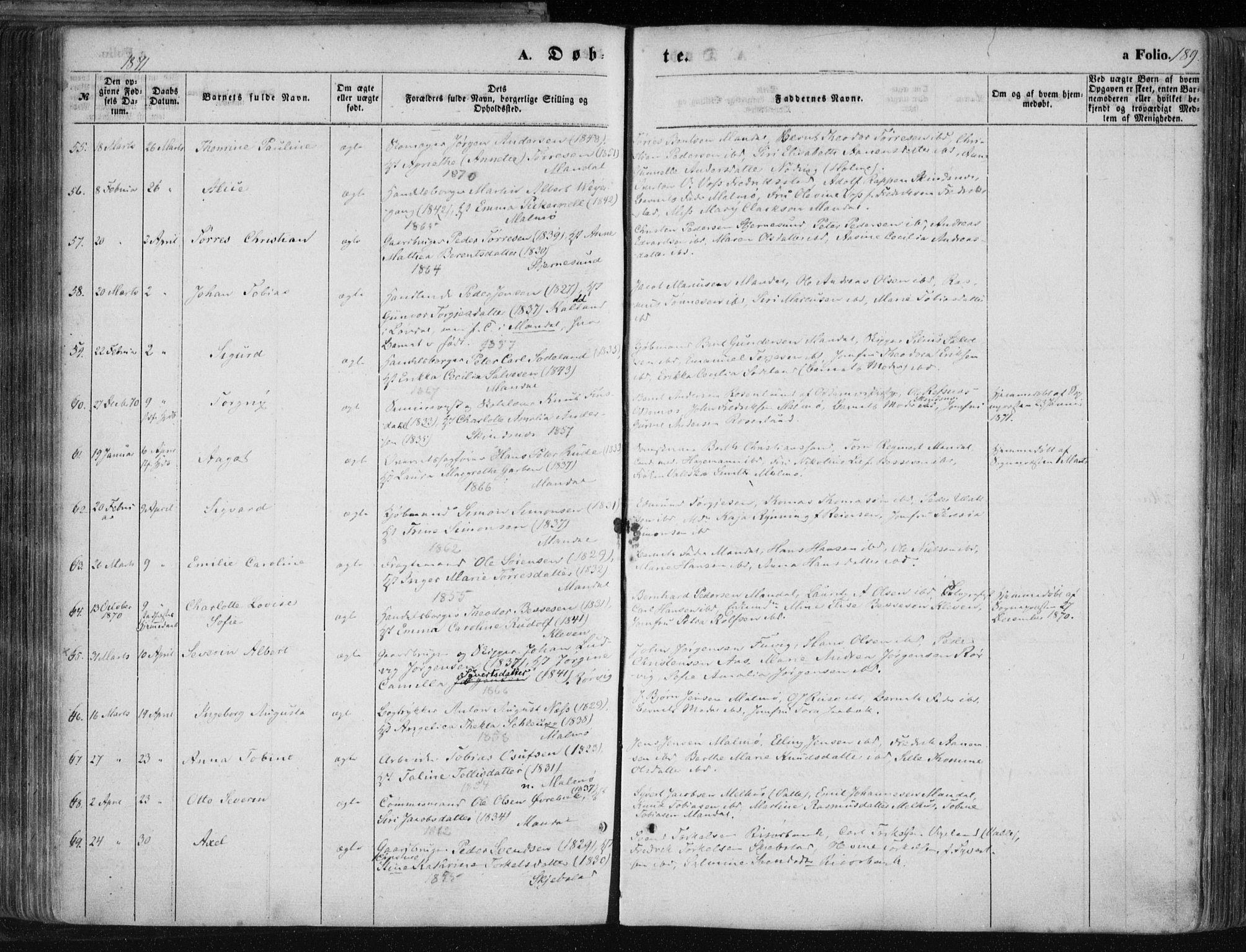 SAK, Mandal sokneprestkontor, F/Fa/Faa/L0014: Ministerialbok nr. A 14, 1859-1872, s. 189