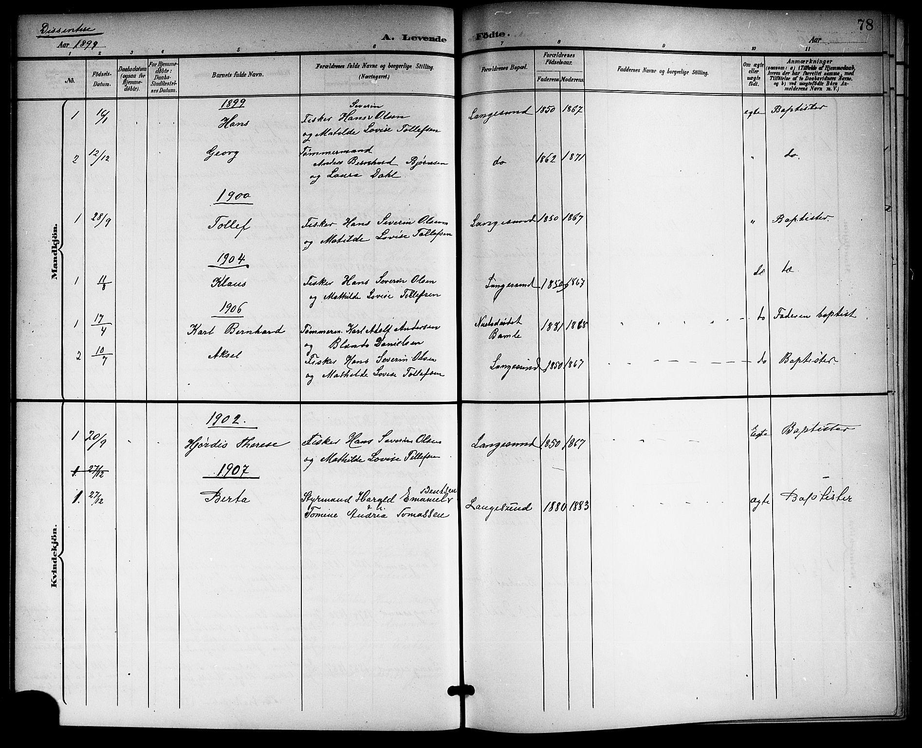 SAKO, Langesund kirkebøker, G/Ga/L0006: Klokkerbok nr. 6, 1899-1918, s. 78