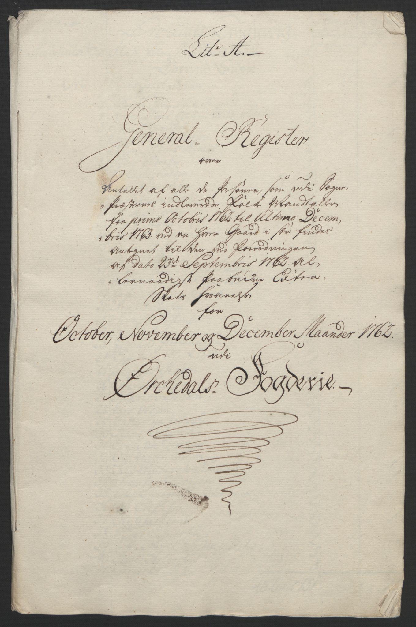 RA, Rentekammeret inntil 1814, Reviderte regnskaper, Fogderegnskap, R60/L4094: Ekstraskatten Orkdal og Gauldal, 1762-1765, s. 19