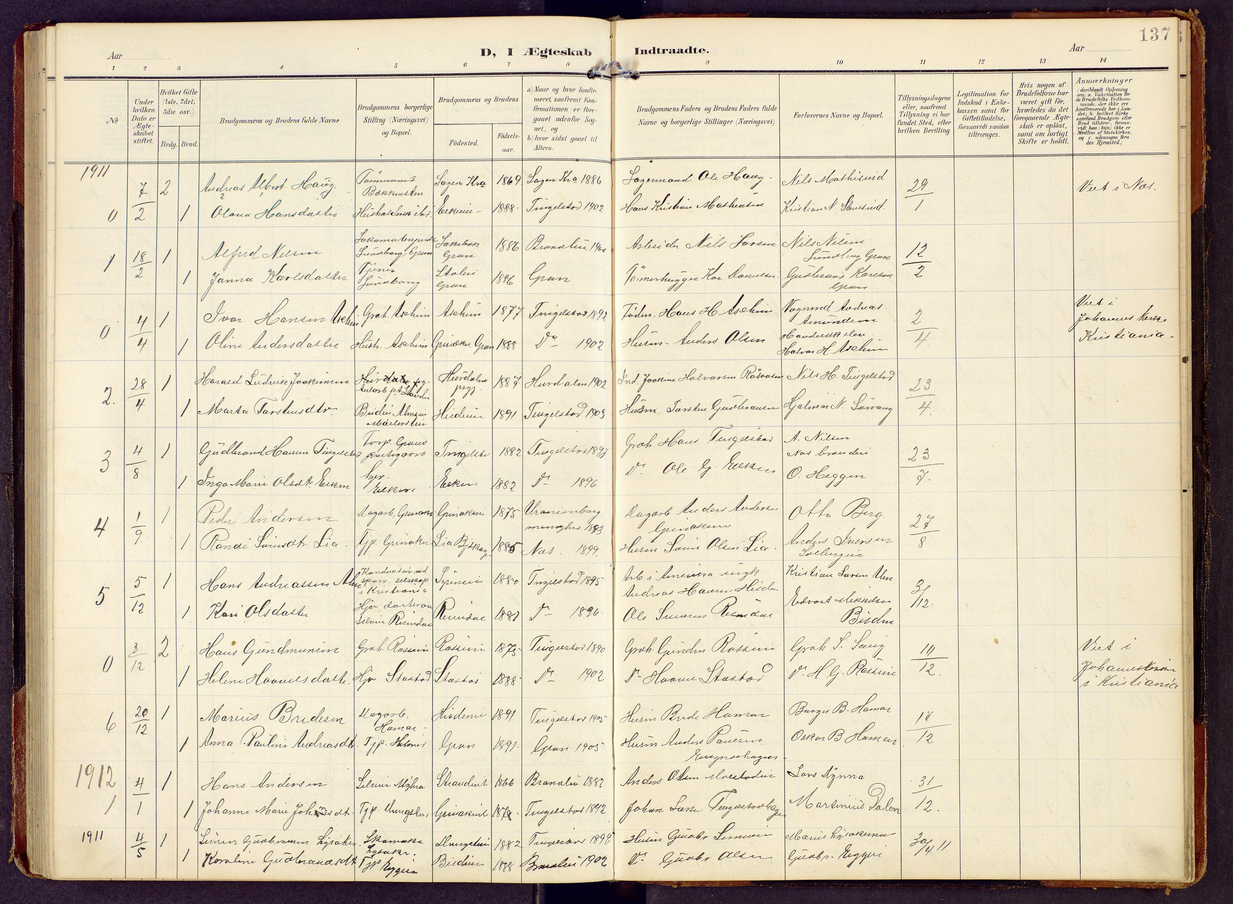 SAH, Brandbu prestekontor, Klokkerbok nr. 9, 1903-1916, s. 137