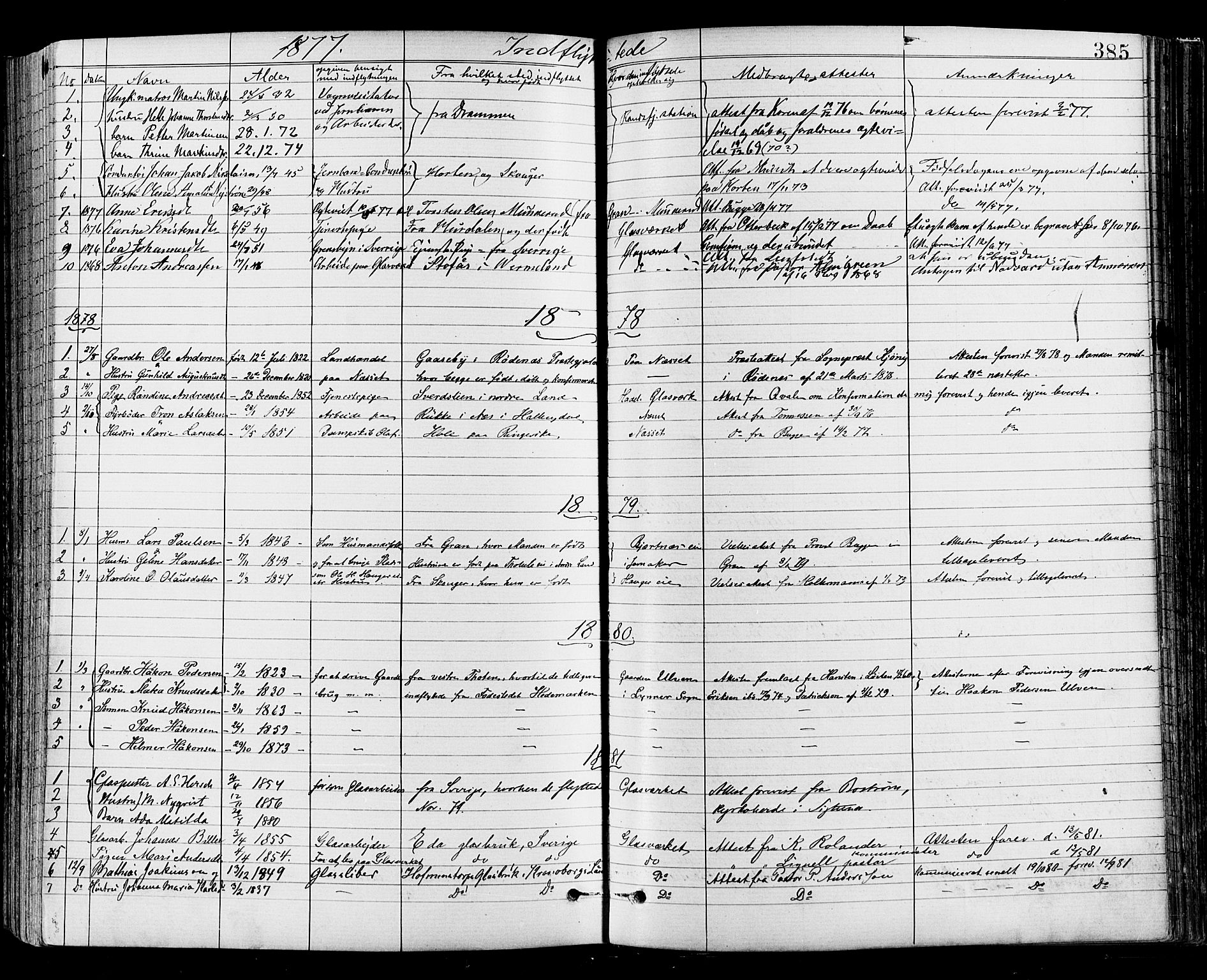 SAH, Jevnaker prestekontor, Ministerialbok nr. 8, 1877-1890, s. 385