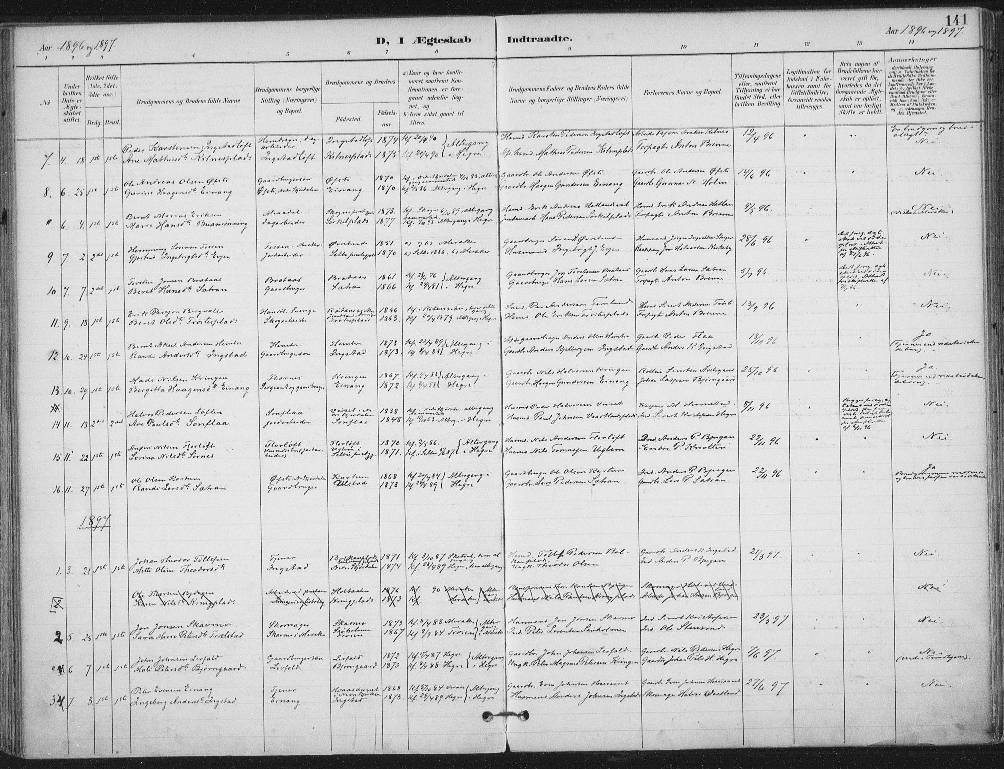 SAT, Ministerialprotokoller, klokkerbøker og fødselsregistre - Nord-Trøndelag, 703/L0031: Ministerialbok nr. 703A04, 1893-1914, s. 141