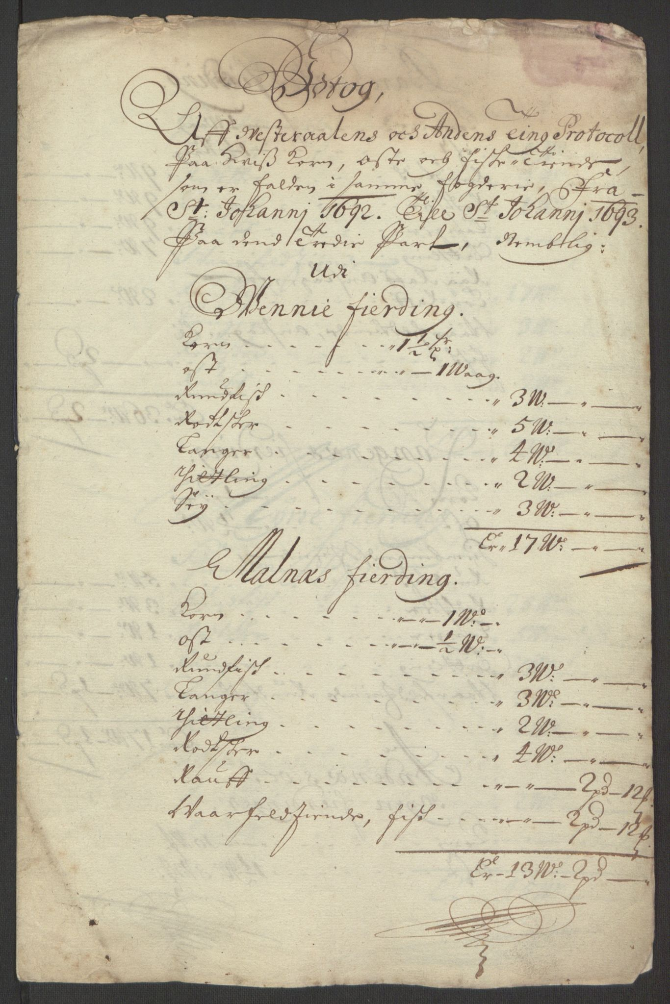RA, Rentekammeret inntil 1814, Reviderte regnskaper, Fogderegnskap, R67/L4676: Fogderegnskap Vesterålen, Andenes og Lofoten, 1691-1693, s. 355