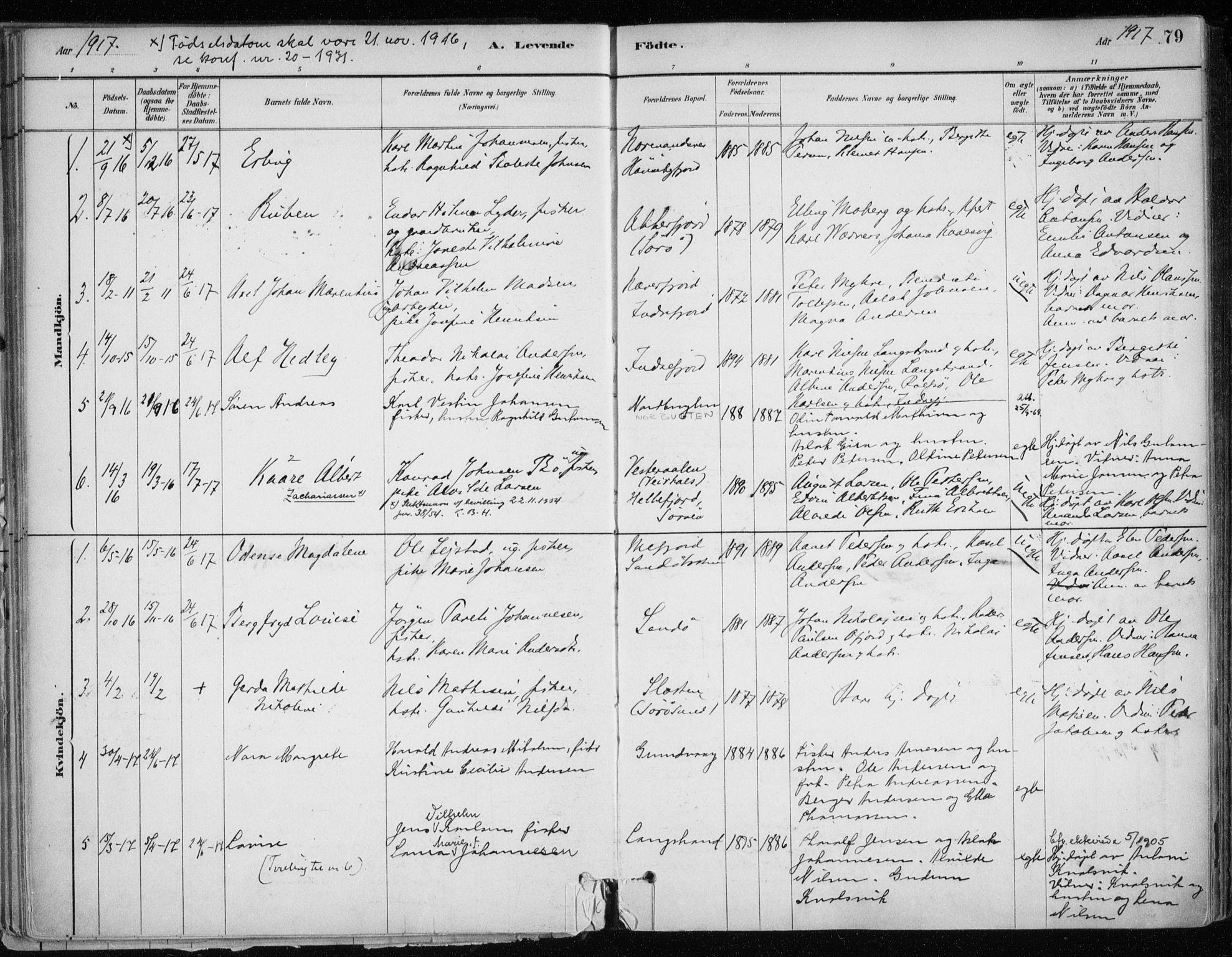 SATØ, Hammerfest sokneprestkontor, H/Ha/L0013.kirke: Ministerialbok nr. 13, 1898-1917, s. 79