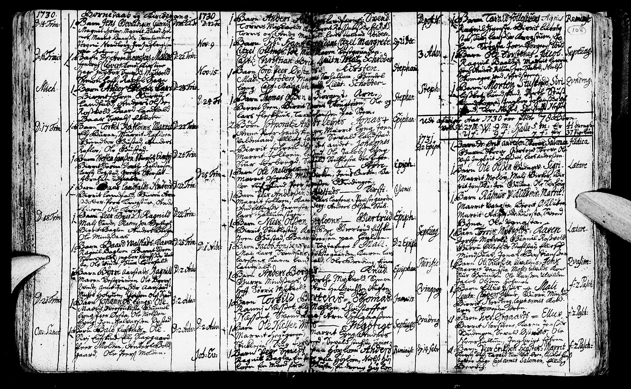 SAT, Ministerialprotokoller, klokkerbøker og fødselsregistre - Nord-Trøndelag, 723/L0230: Ministerialbok nr. 723A01, 1705-1747, s. 108