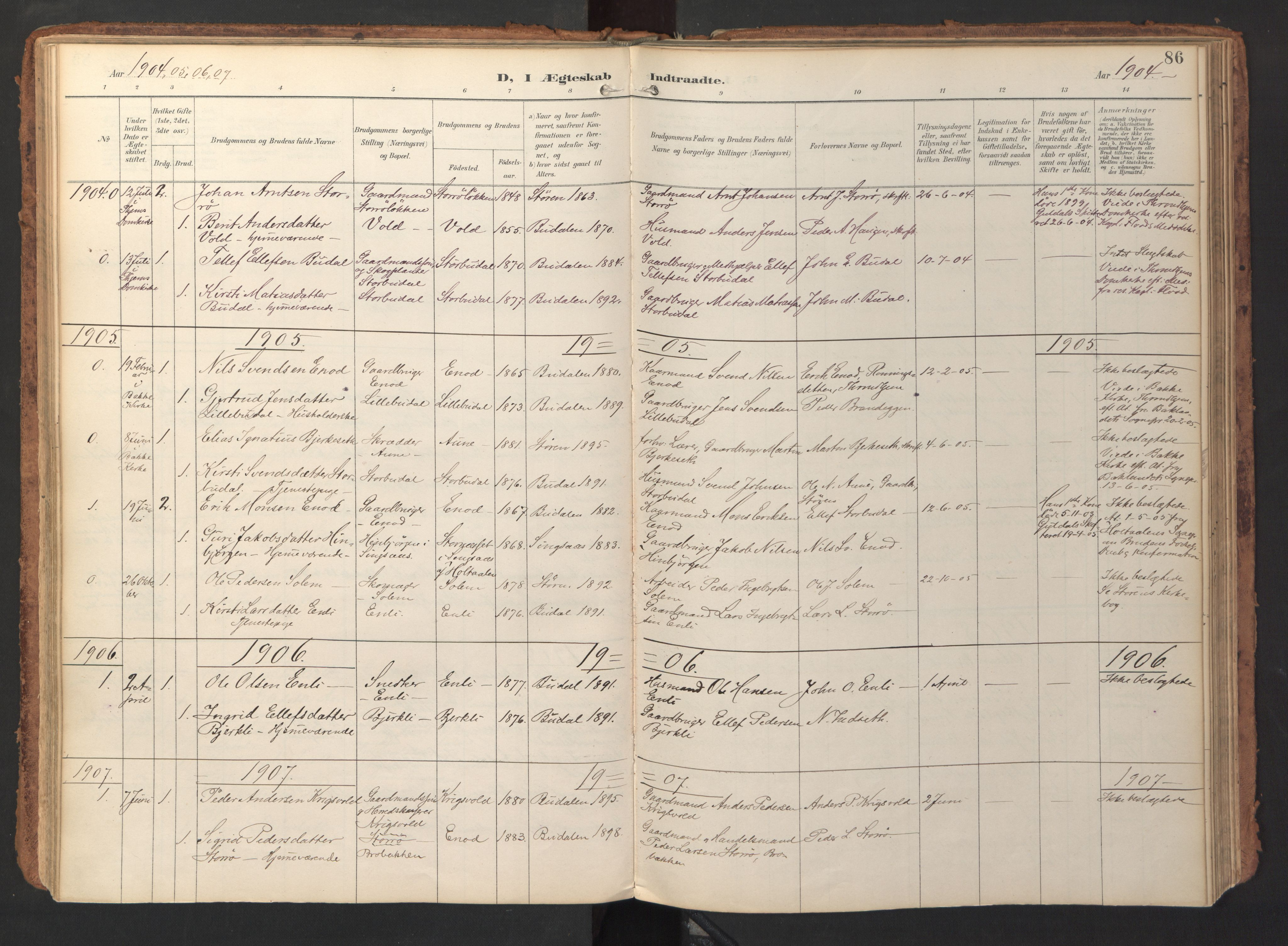 SAT, Ministerialprotokoller, klokkerbøker og fødselsregistre - Sør-Trøndelag, 690/L1050: Ministerialbok nr. 690A01, 1889-1929, s. 86