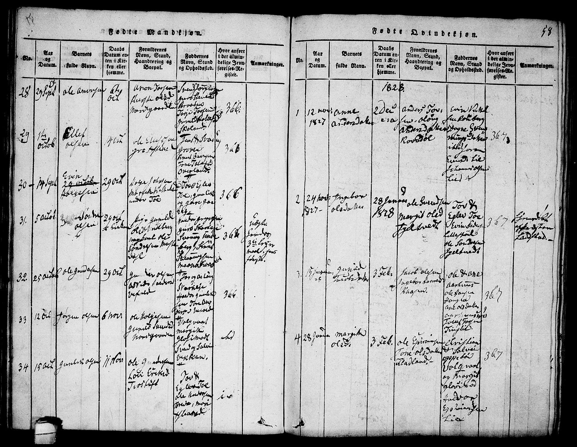 SAKO, Seljord kirkebøker, F/Fa/L0010: Ministerialbok nr. I 10, 1815-1831, s. 58