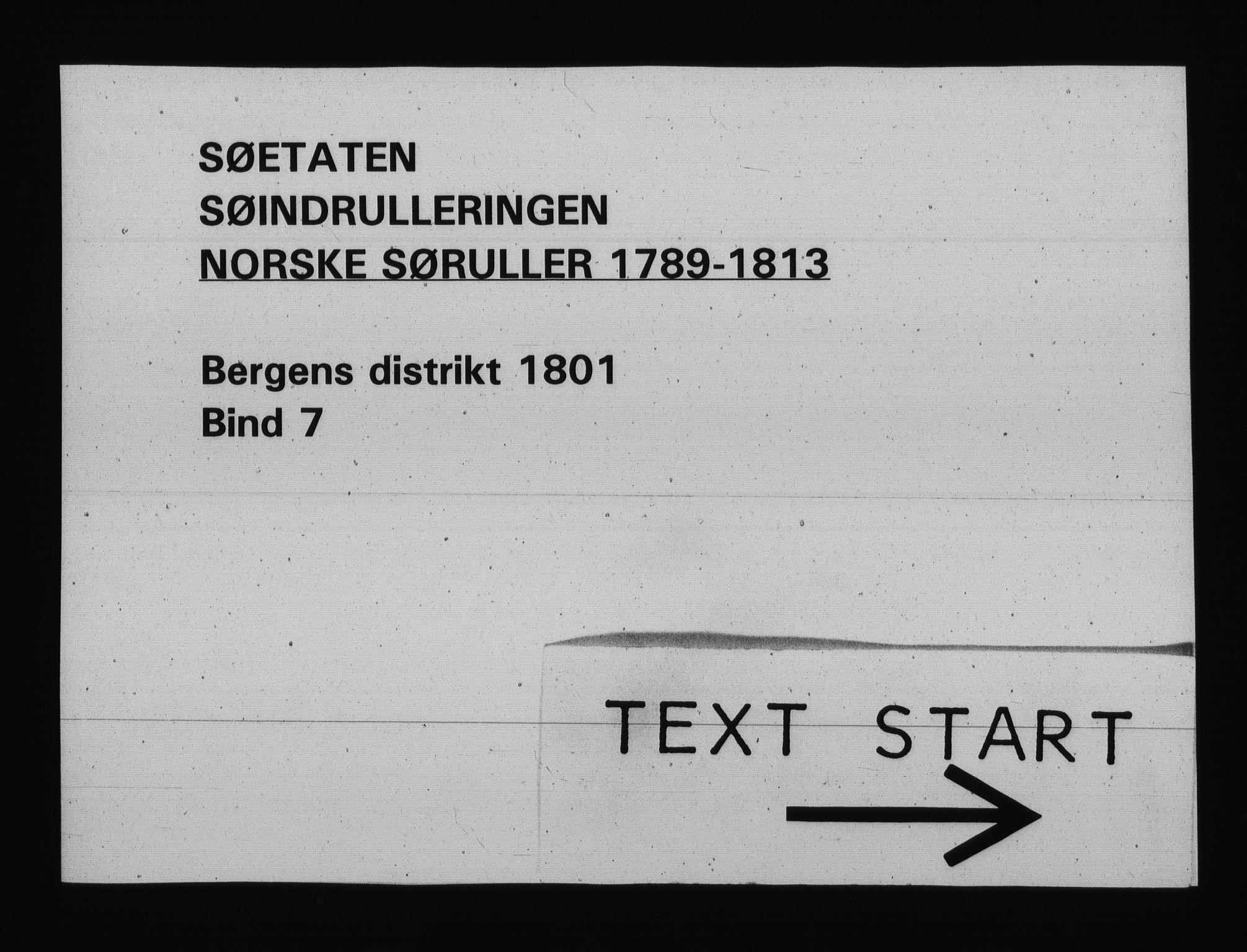 RA, Sjøetaten, F/L0239: Bergen distrikt, bind 7, 1801