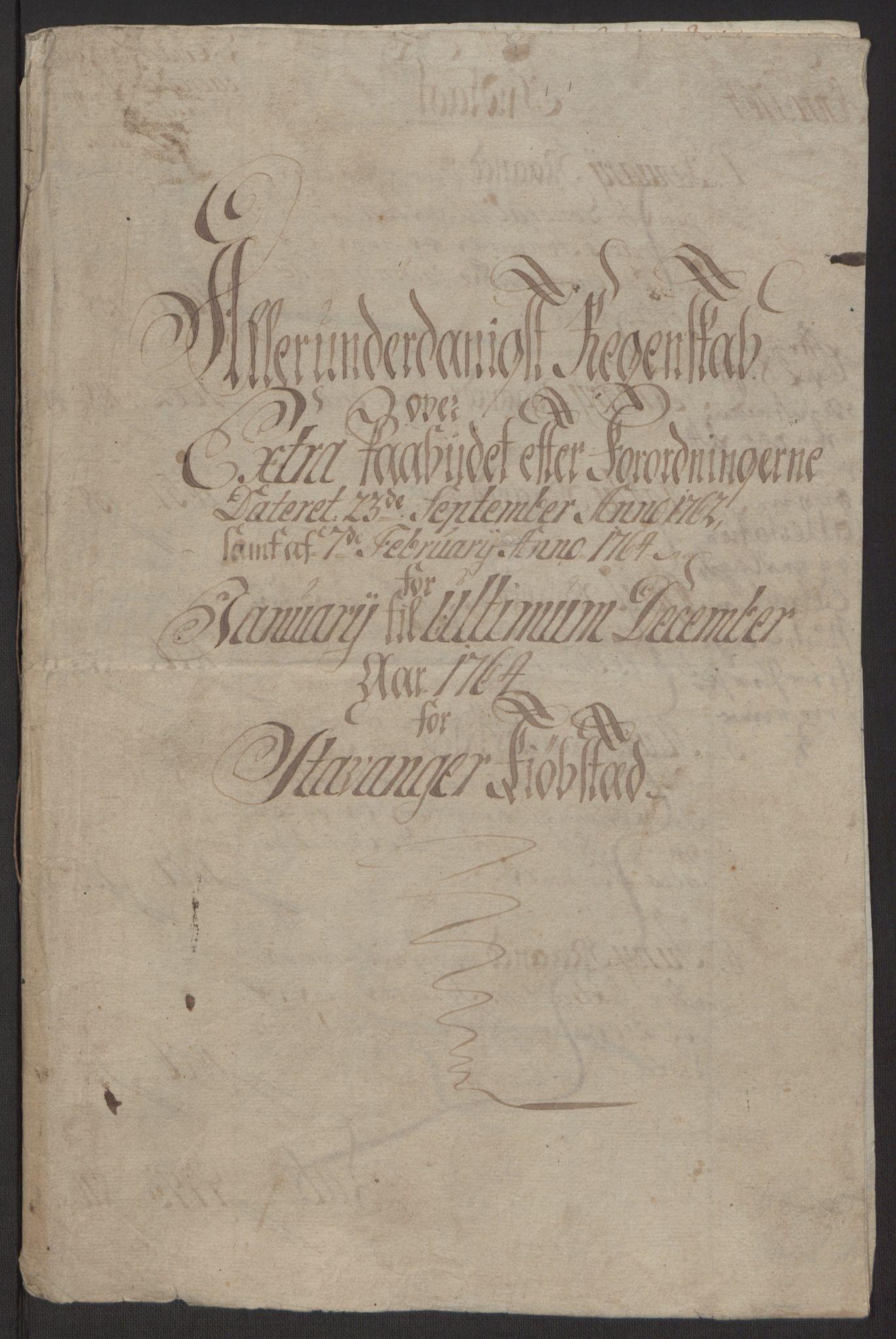 RA, Rentekammeret inntil 1814, Reviderte regnskaper, Byregnskaper, R/Ro/L0305: [O6] Kontribusjonsregnskap, 1762-1768, s. 30