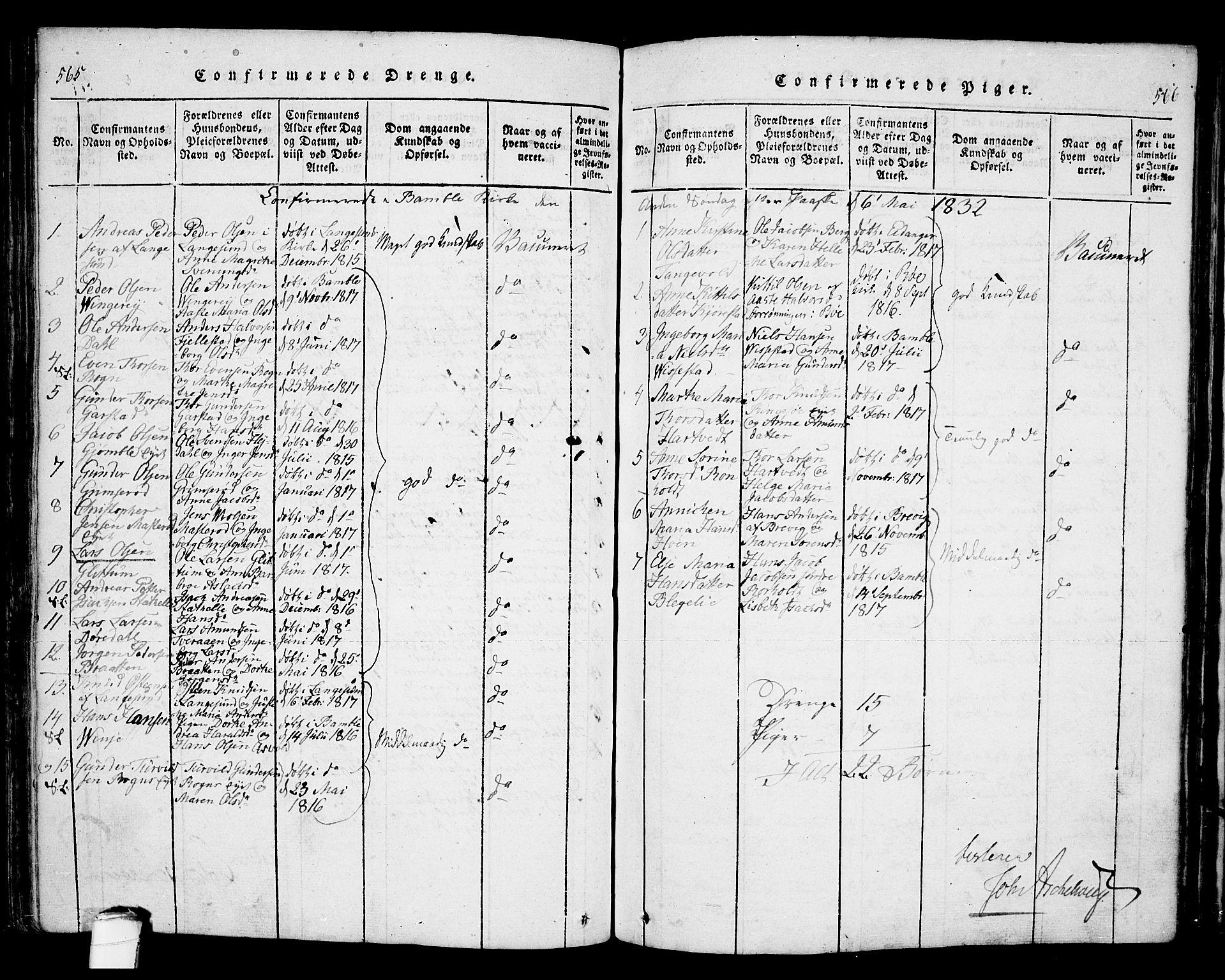 SAKO, Bamble kirkebøker, F/Fa/L0003: Ministerialbok nr. I 3 /1, 1814-1834, s. 565-566