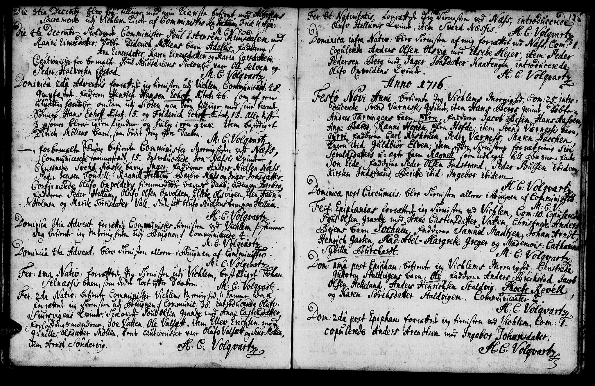 SAT, Ministerialprotokoller, klokkerbøker og fødselsregistre - Sør-Trøndelag, 659/L0731: Ministerialbok nr. 659A01, 1709-1731, s. 124-125