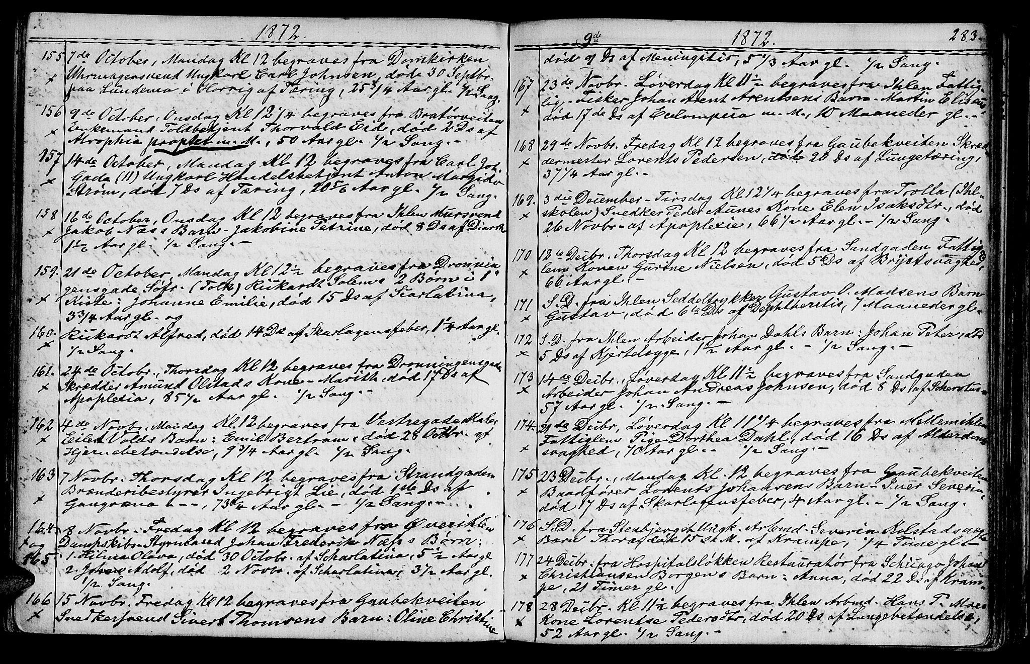 SAT, Ministerialprotokoller, klokkerbøker og fødselsregistre - Sør-Trøndelag, 602/L0142: Klokkerbok nr. 602C10, 1872-1894, s. 283