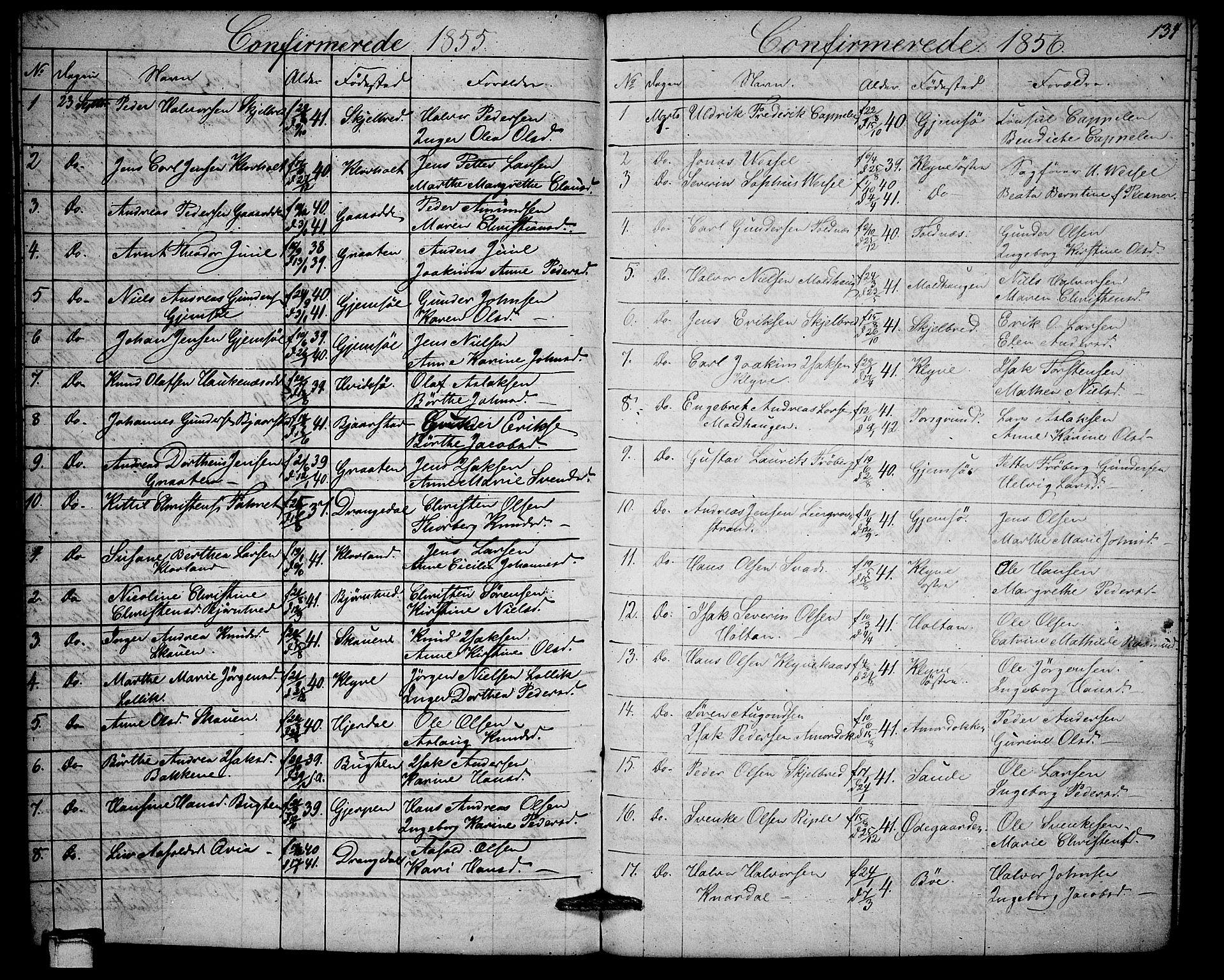 SAKO, Solum kirkebøker, G/Ga/L0003: Klokkerbok nr. I 3, 1848-1859, s. 134