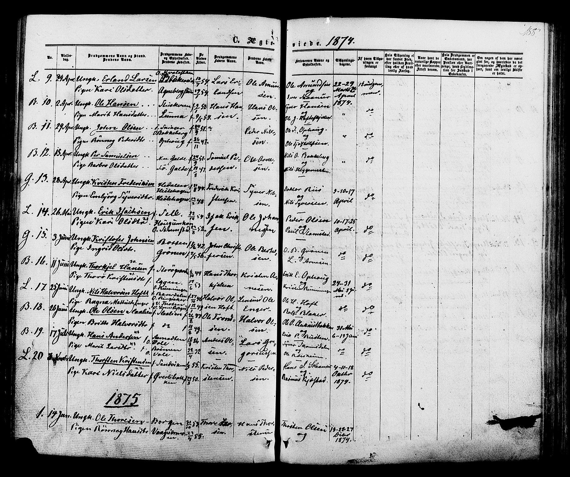SAH, Lom prestekontor, K/L0007: Ministerialbok nr. 7, 1863-1884, s. 188
