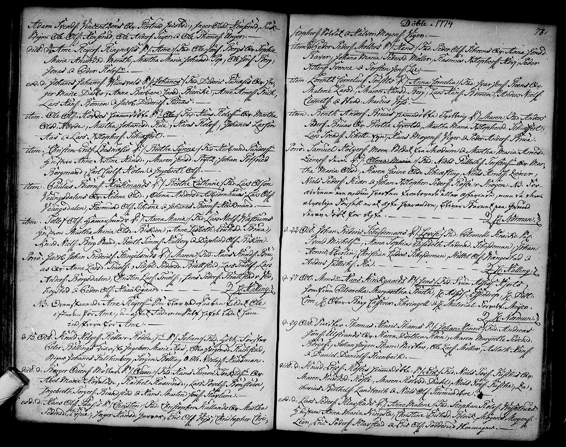 SAKO, Kongsberg kirkebøker, F/Fa/L0005: Ministerialbok nr. I 5, 1769-1782, s. 78