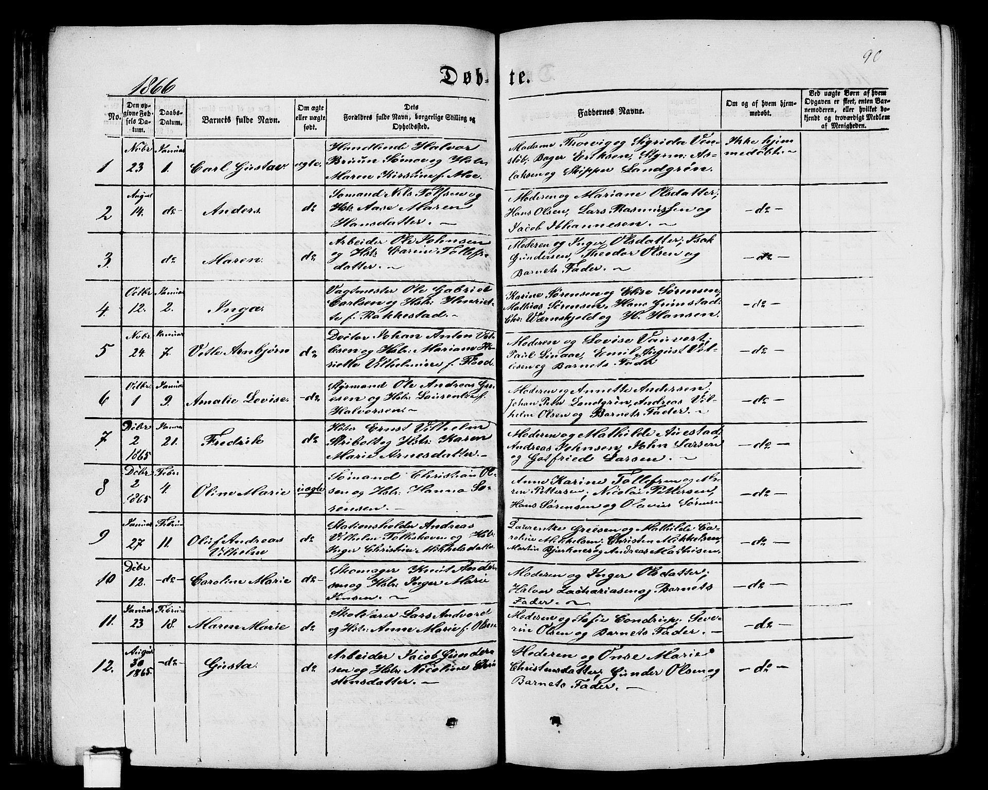 SAKO, Porsgrunn kirkebøker , G/Gb/L0004: Klokkerbok nr. II 4, 1853-1882, s. 90