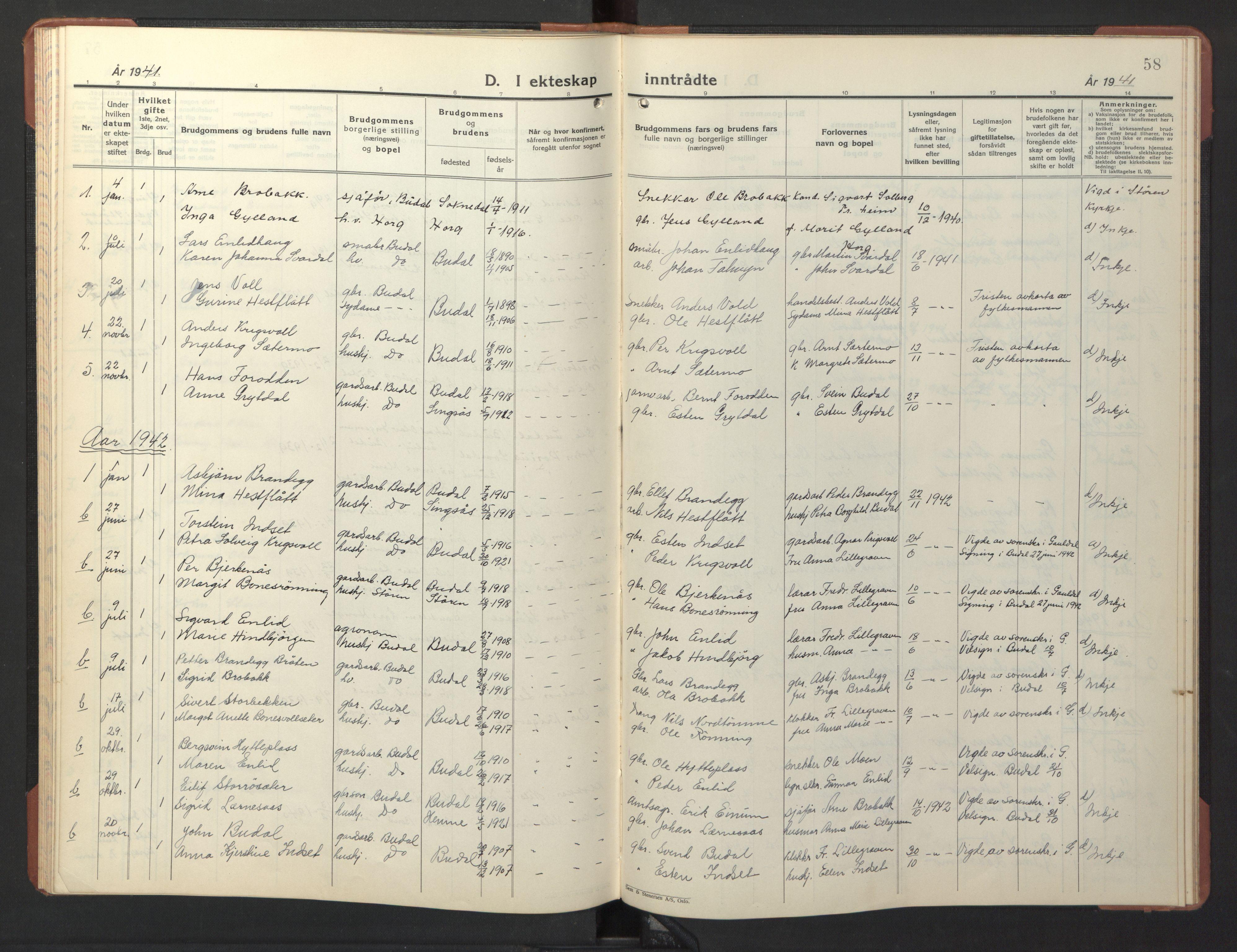 SAT, Ministerialprotokoller, klokkerbøker og fødselsregistre - Sør-Trøndelag, 690/L1053: Klokkerbok nr. 690C03, 1930-1947, s. 58