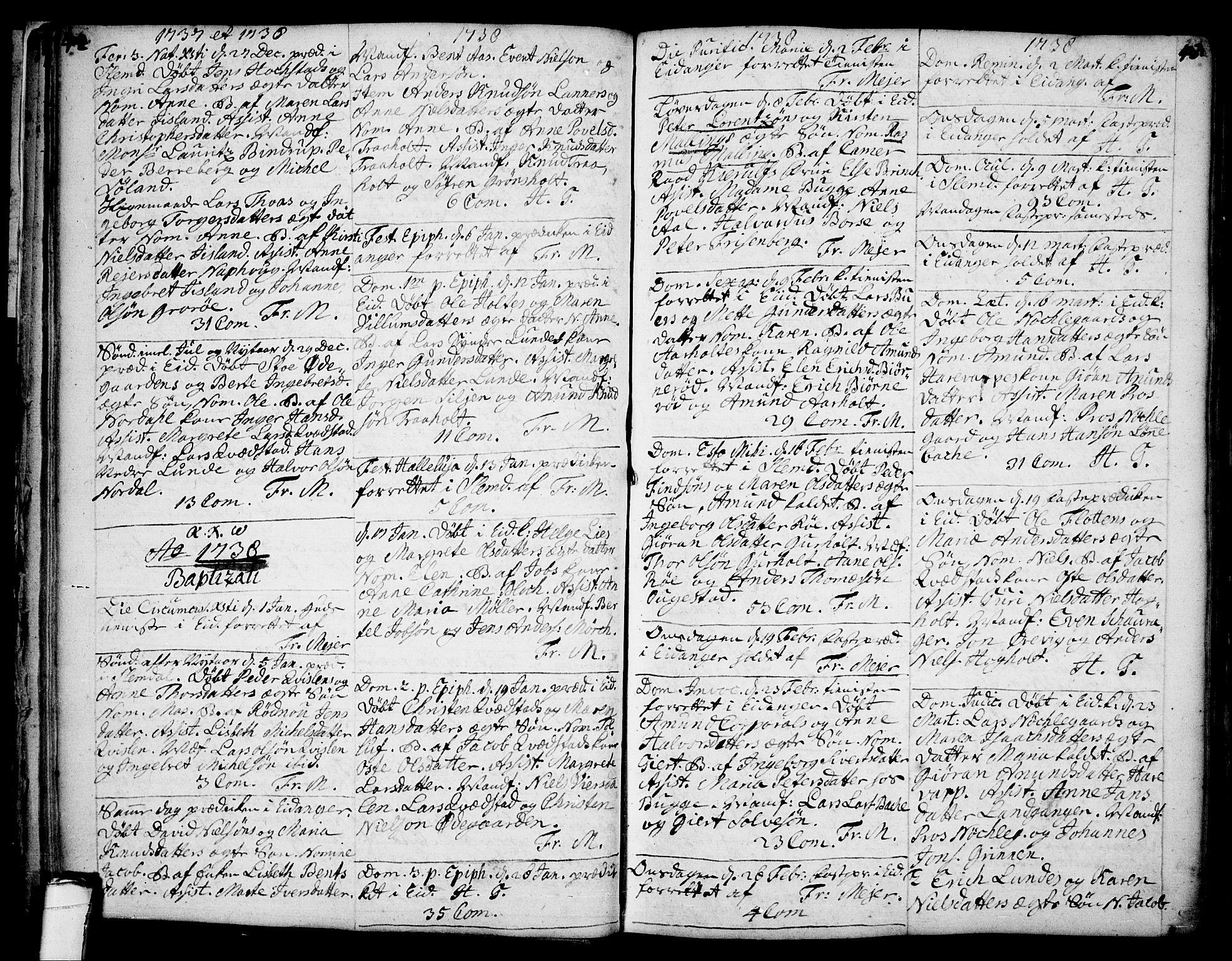 SAKO, Eidanger kirkebøker, F/Fa/L0004: Ministerialbok nr. 4, 1733-1759, s. 42-43