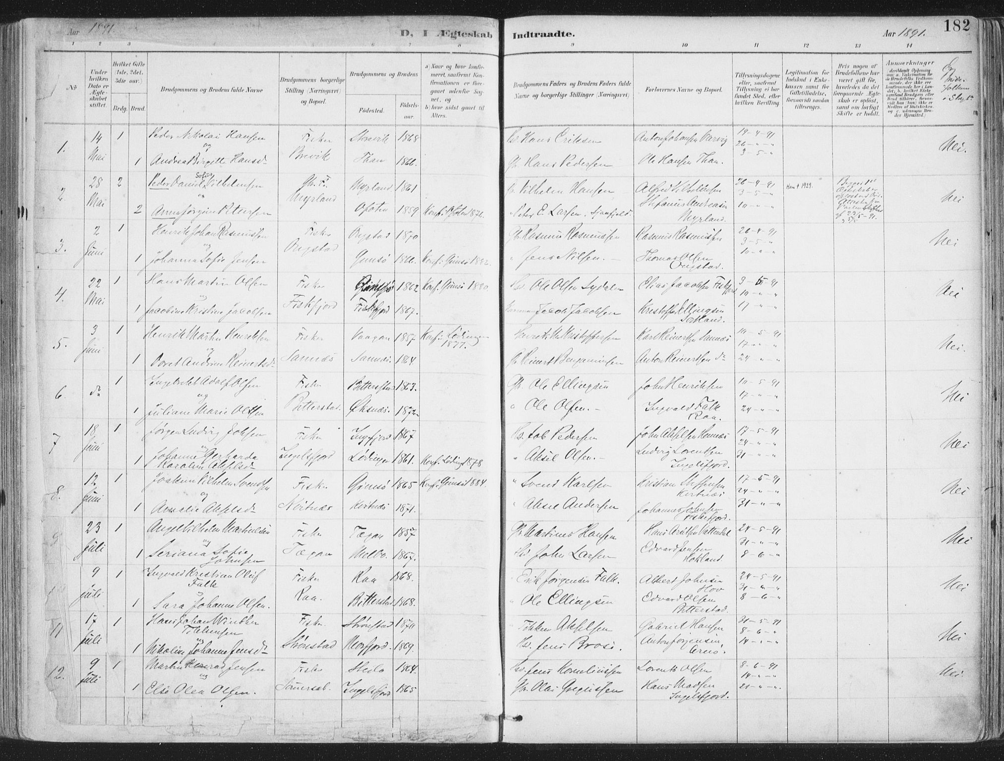 SAT, Ministerialprotokoller, klokkerbøker og fødselsregistre - Nordland, 888/L1246: Ministerialbok nr. 888A12, 1891-1903, s. 182