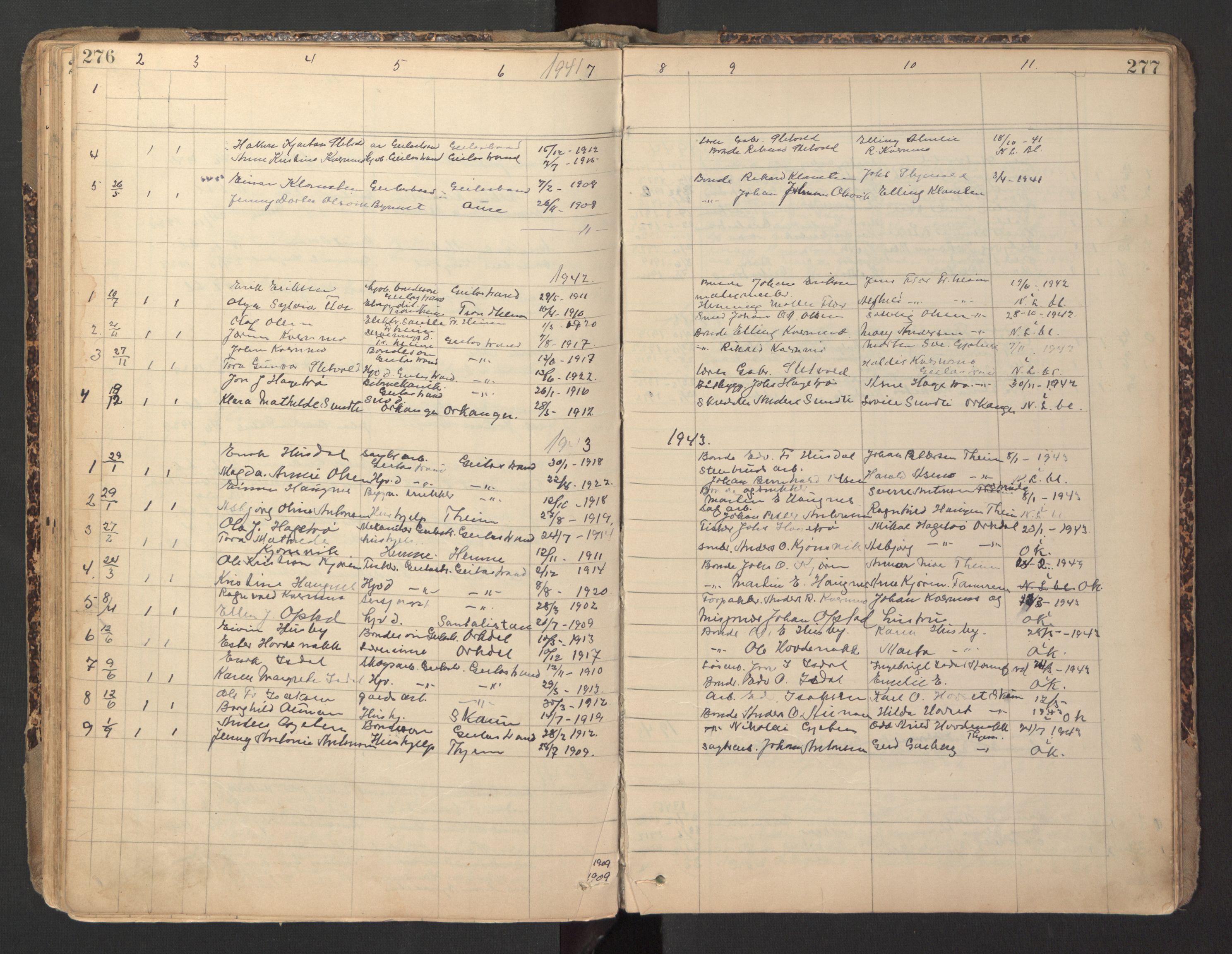SAT, Ministerialprotokoller, klokkerbøker og fødselsregistre - Sør-Trøndelag, 670/L0837: Klokkerbok nr. 670C01, 1905-1946, s. 276-277