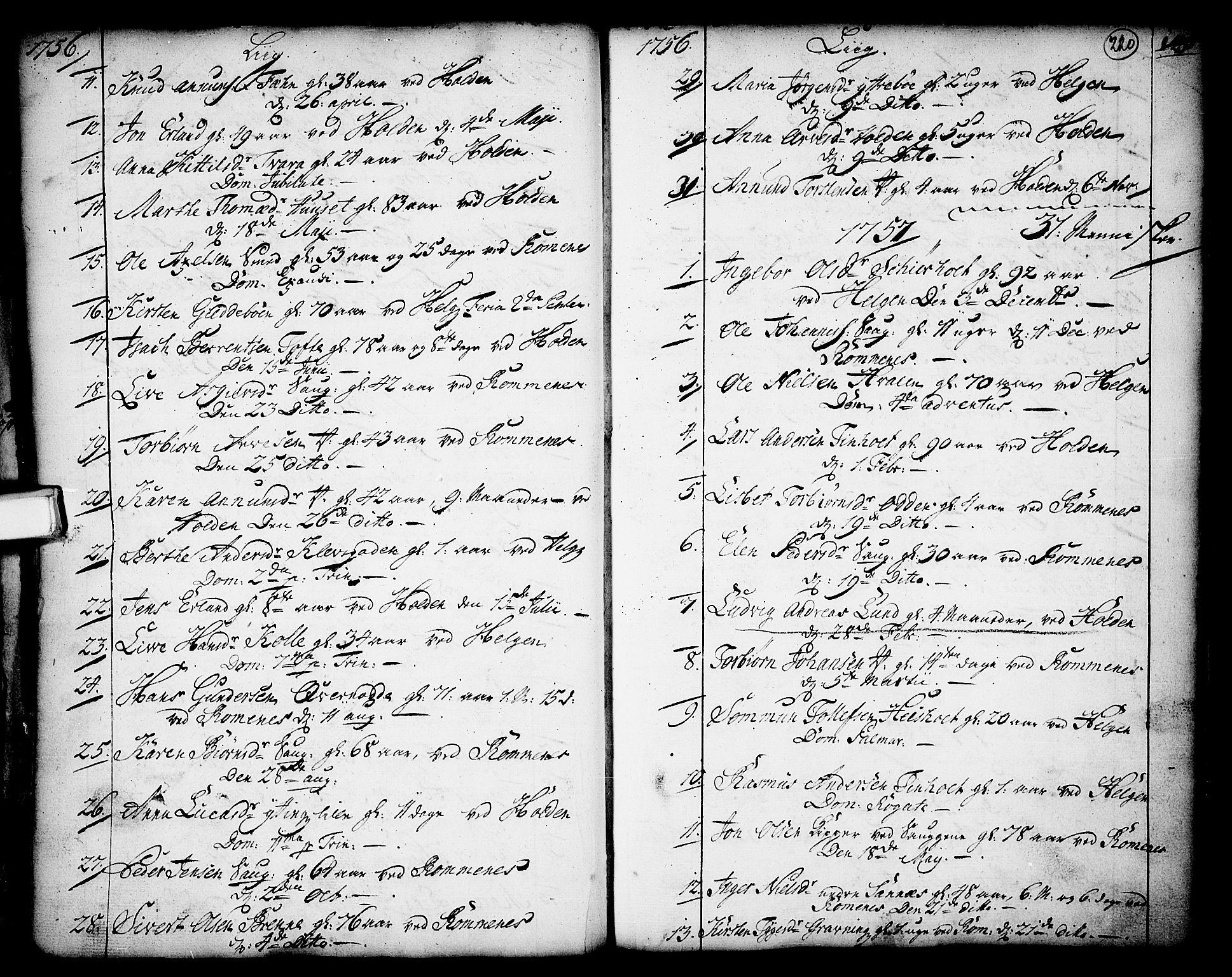 SAKO, Holla kirkebøker, F/Fa/L0001: Ministerialbok nr. 1, 1717-1779, s. 220