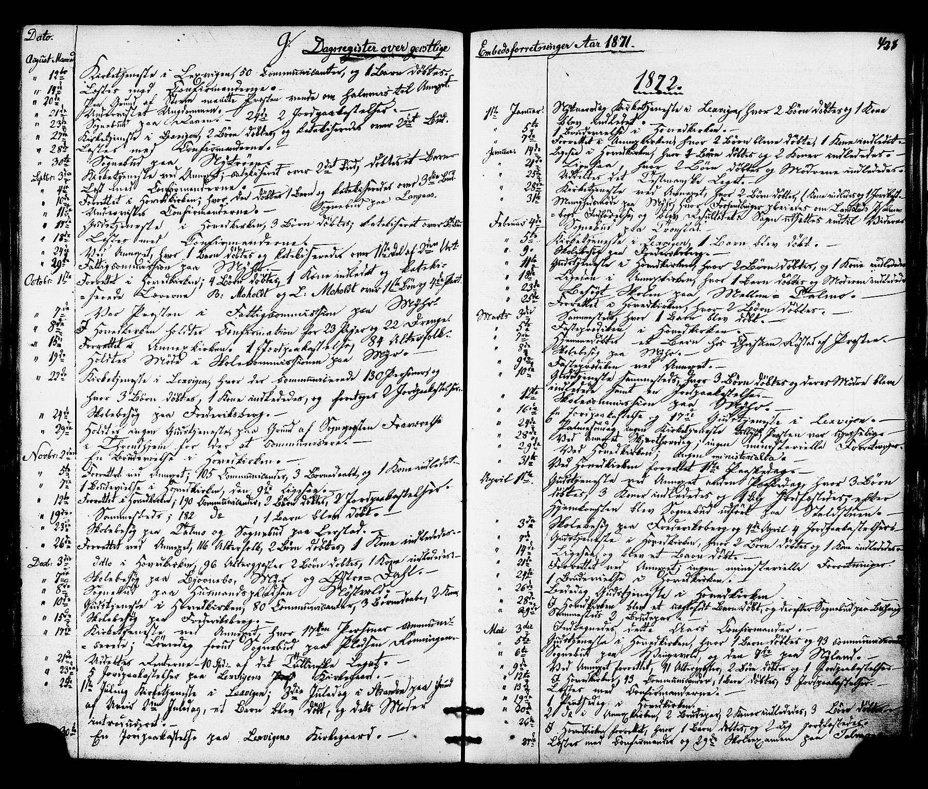 SAT, Ministerialprotokoller, klokkerbøker og fødselsregistre - Nord-Trøndelag, 701/L0009: Ministerialbok nr. 701A09 /1, 1864-1882, s. 428
