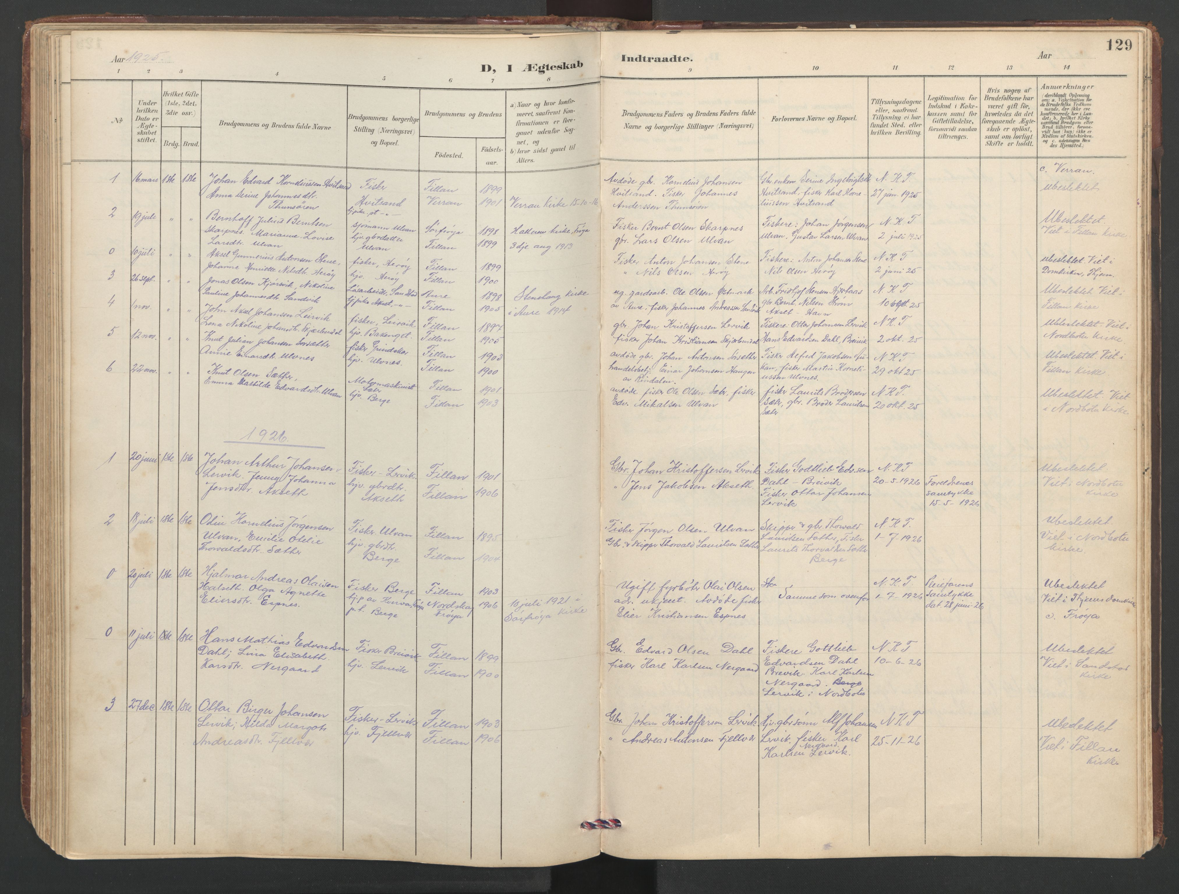 SAT, Ministerialprotokoller, klokkerbøker og fødselsregistre - Sør-Trøndelag, 638/L0571: Klokkerbok nr. 638C03, 1901-1930, s. 129