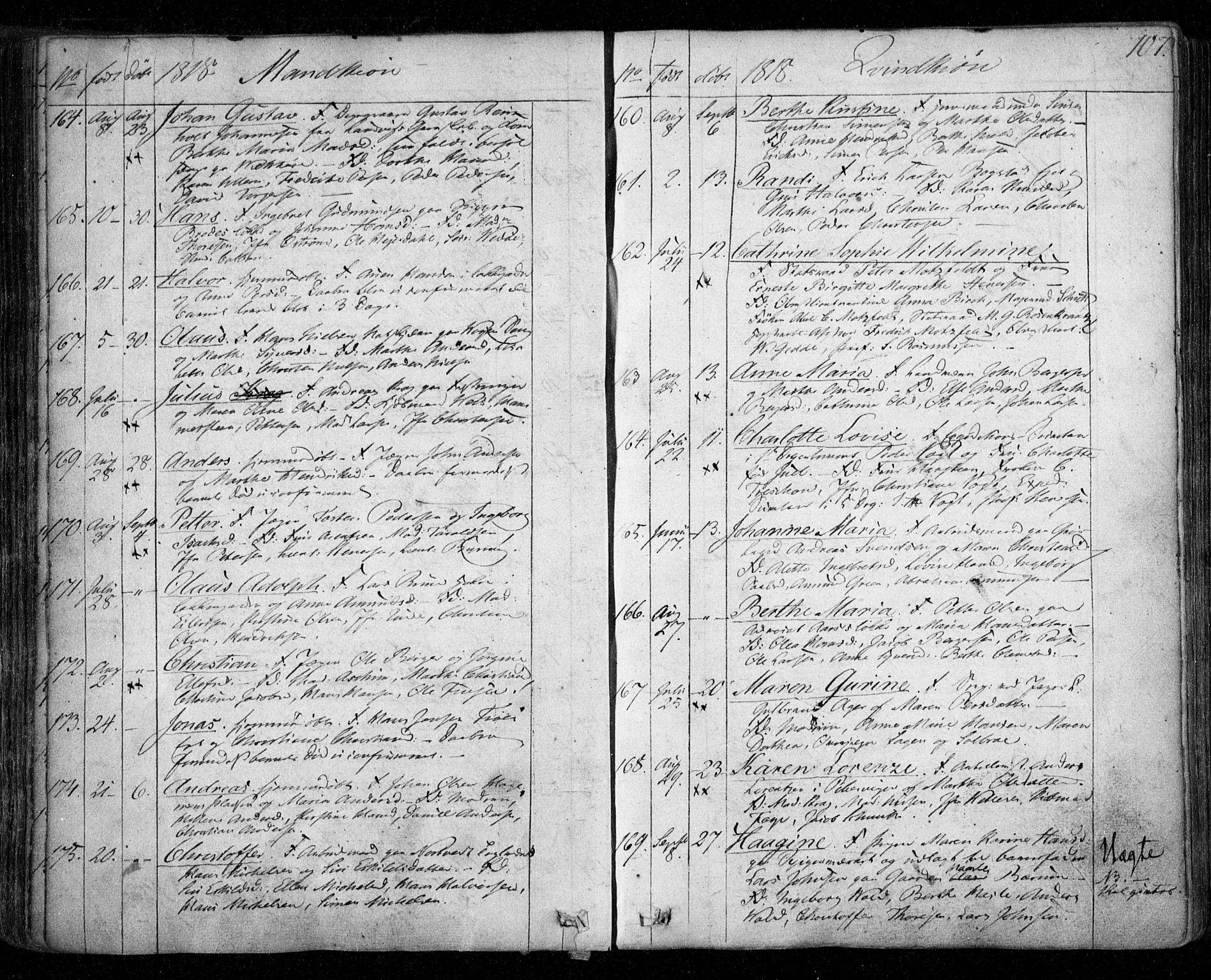SAO, Aker prestekontor kirkebøker, F/L0011: Ministerialbok nr. 11, 1810-1819, s. 107