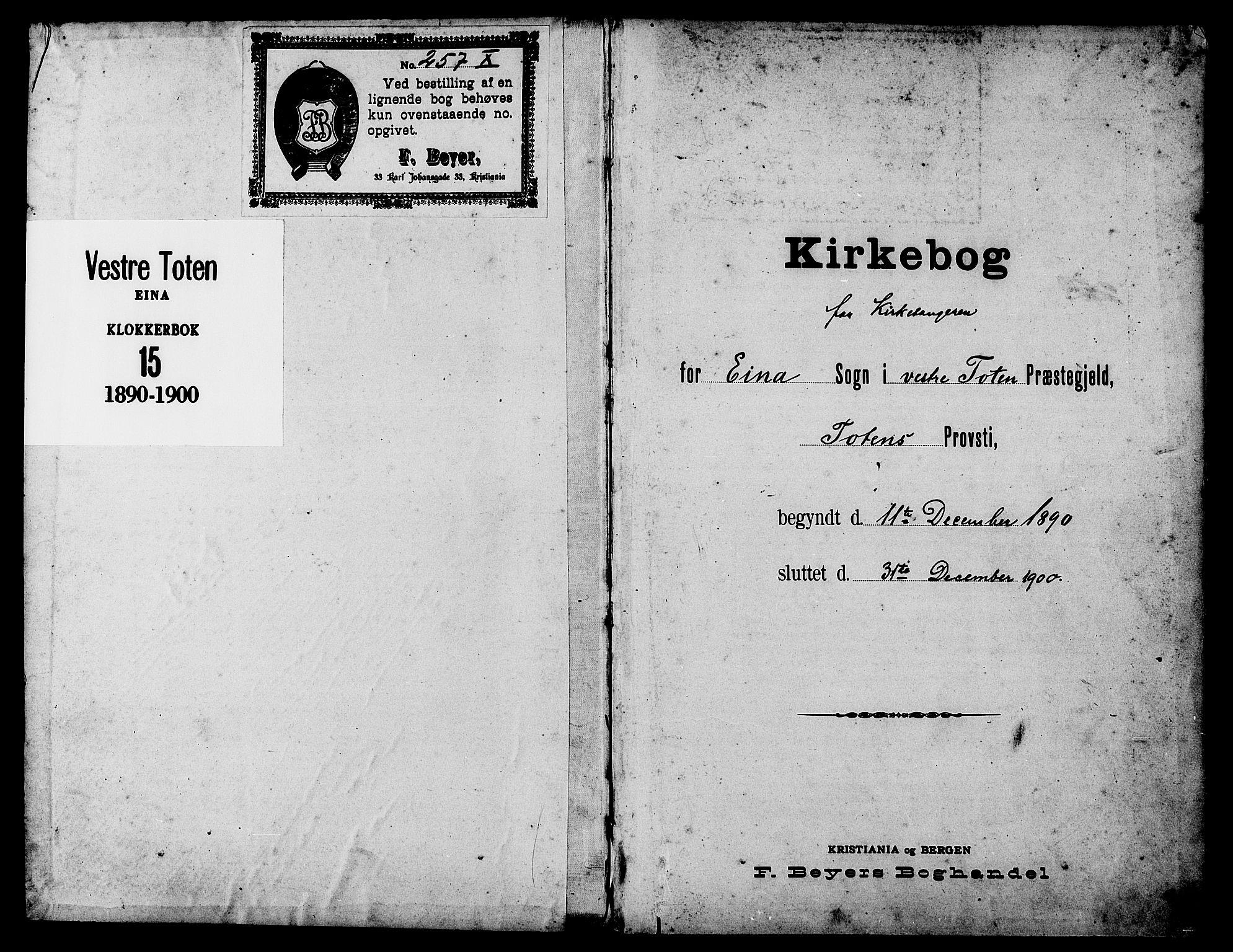 SAH, Vestre Toten prestekontor, H/Ha/Hab/L0015: Klokkerbok nr. 15, 1890-1900