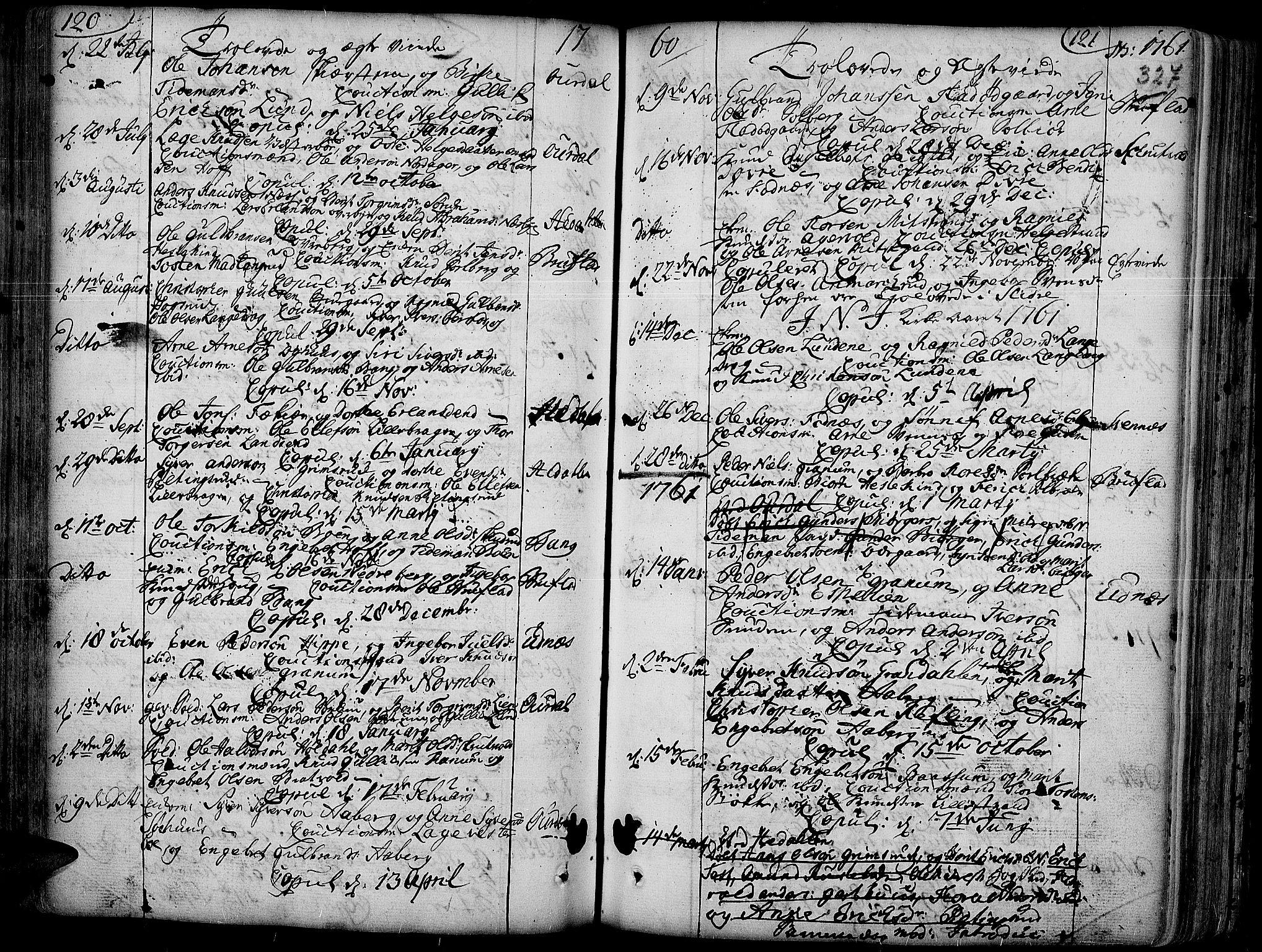 SAH, Aurdal prestekontor, Ministerialbok nr. 4, 1730-1762, s. 120-121