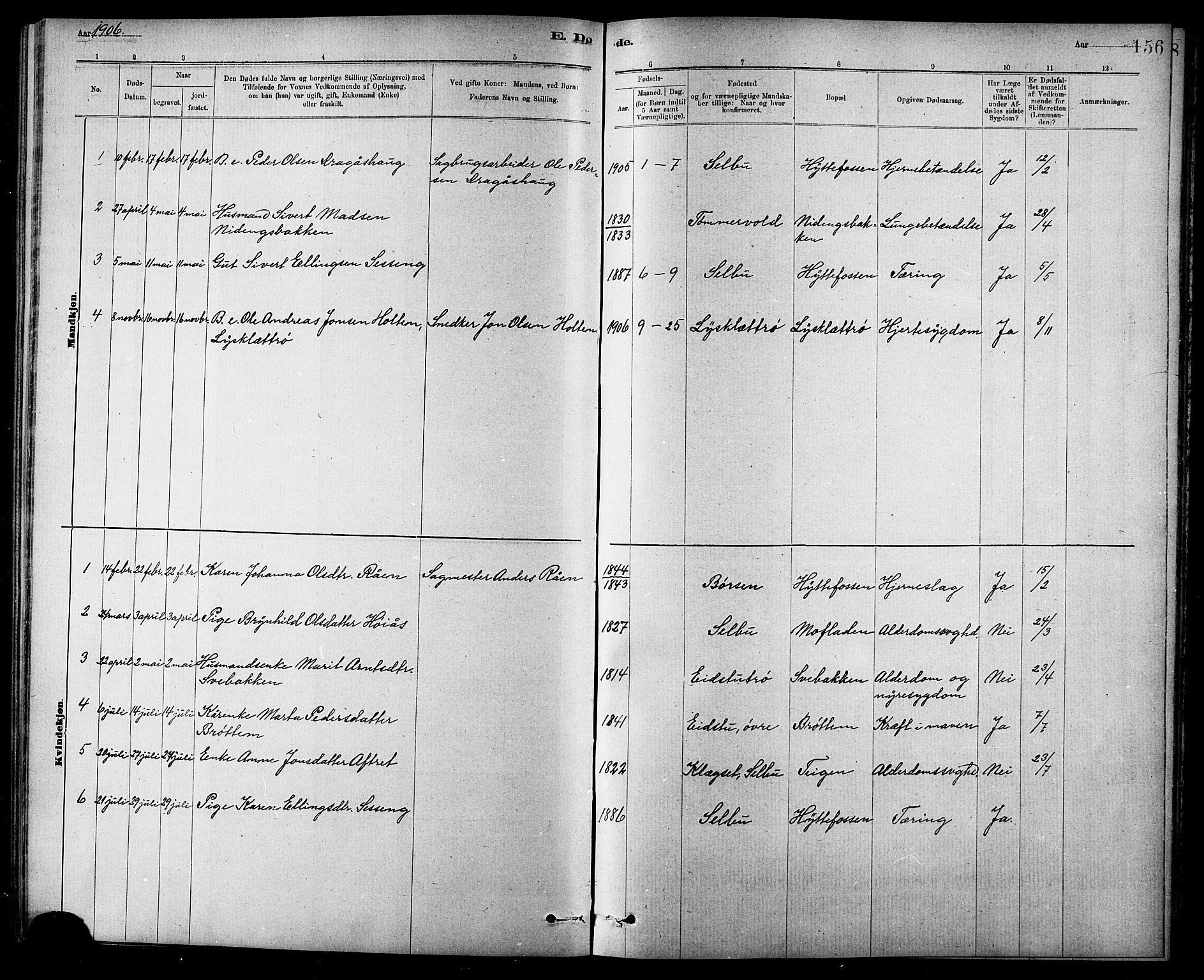 SAT, Ministerialprotokoller, klokkerbøker og fødselsregistre - Sør-Trøndelag, 618/L0452: Klokkerbok nr. 618C03, 1884-1906, s. 156