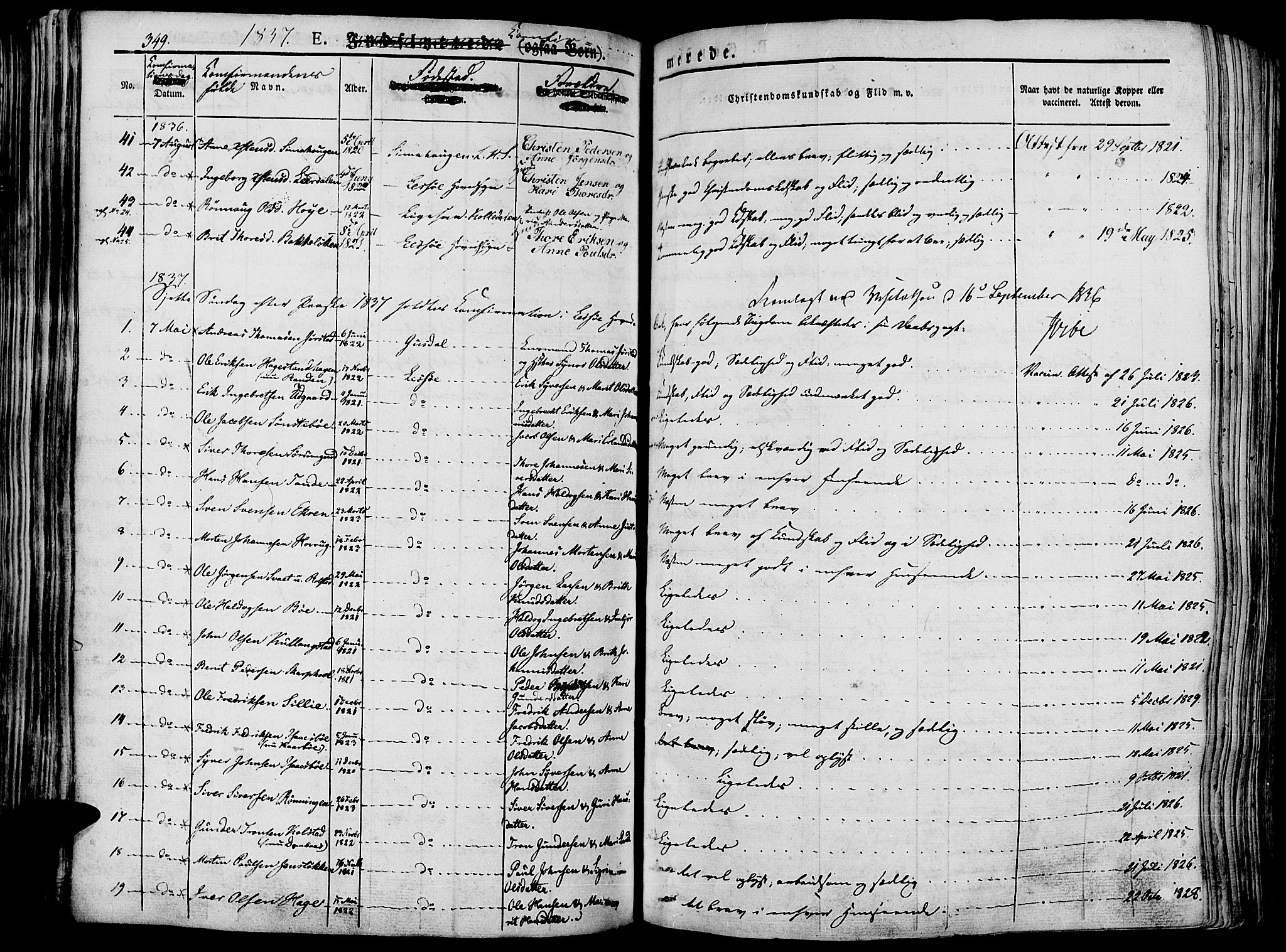 SAH, Lesja prestekontor, Ministerialbok nr. 5, 1830-1842, s. 349