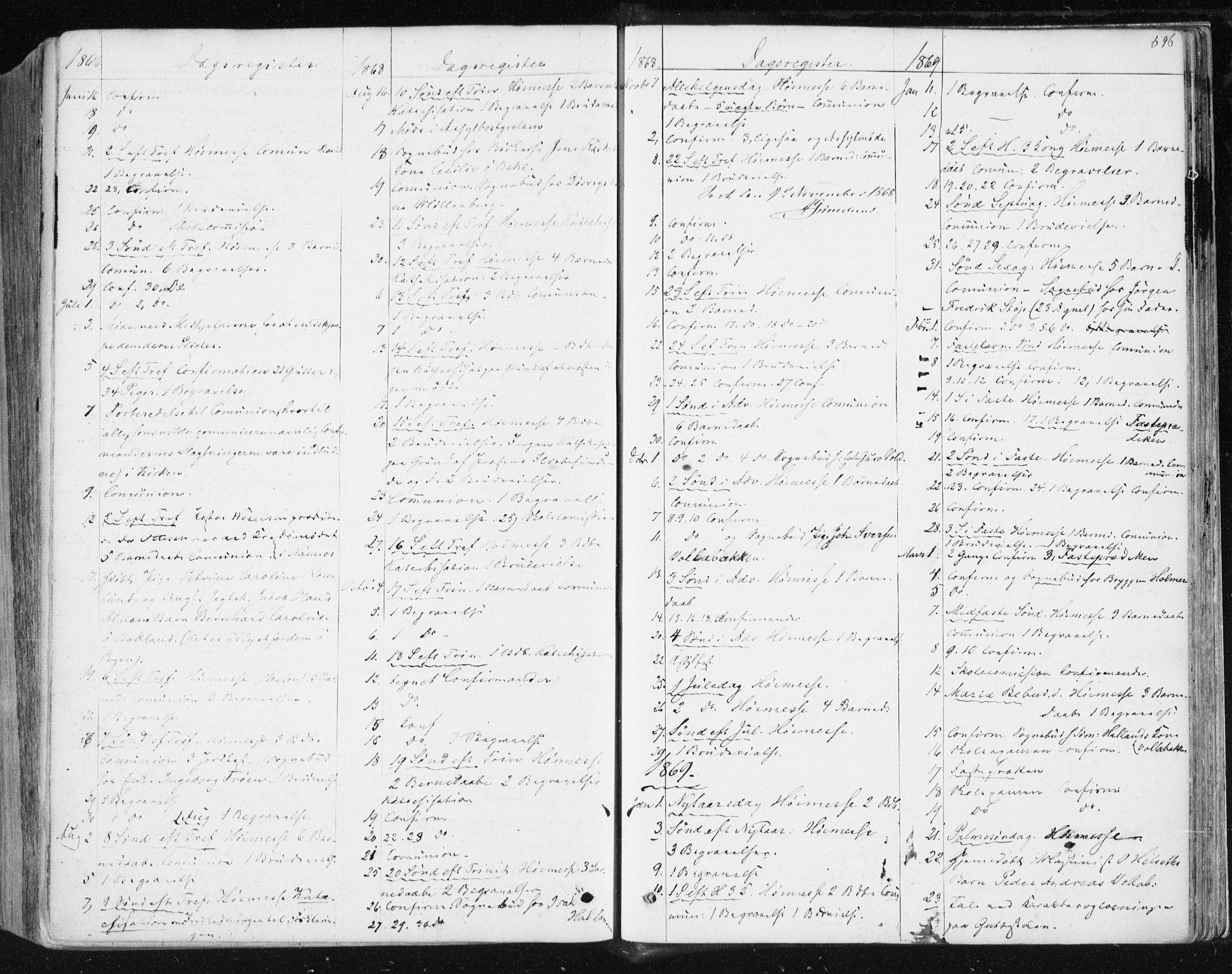 SAT, Ministerialprotokoller, klokkerbøker og fødselsregistre - Sør-Trøndelag, 604/L0186: Ministerialbok nr. 604A07, 1866-1877, s. 696