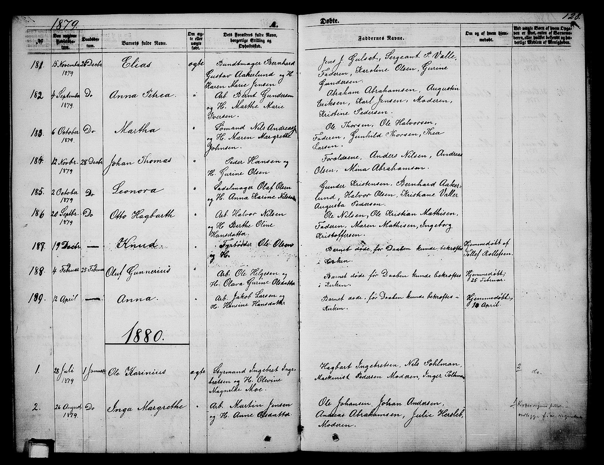 SAKO, Skien kirkebøker, G/Ga/L0005: Klokkerbok nr. 5, 1868-1880, s. 128