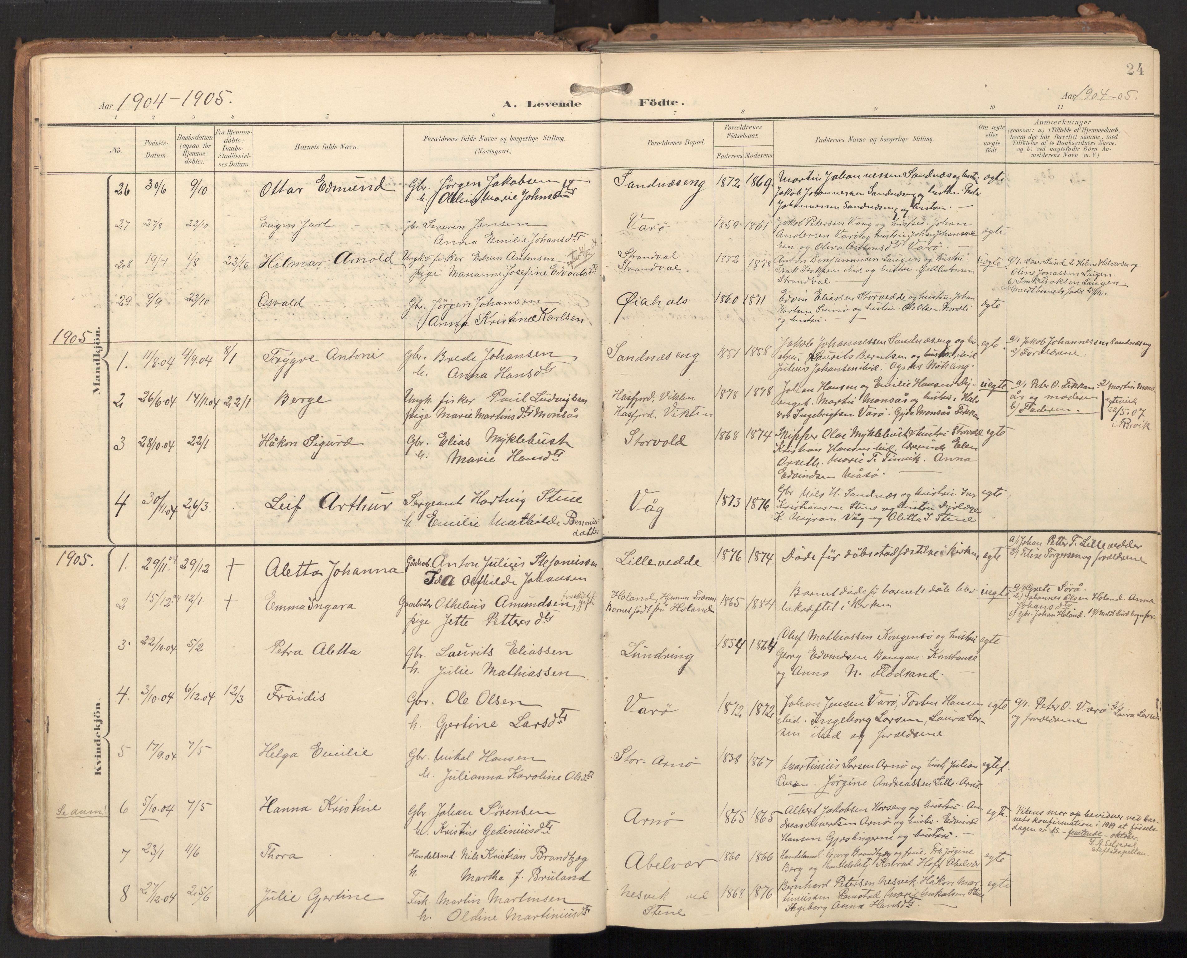 SAT, Ministerialprotokoller, klokkerbøker og fødselsregistre - Nord-Trøndelag, 784/L0677: Ministerialbok nr. 784A12, 1900-1920, s. 24