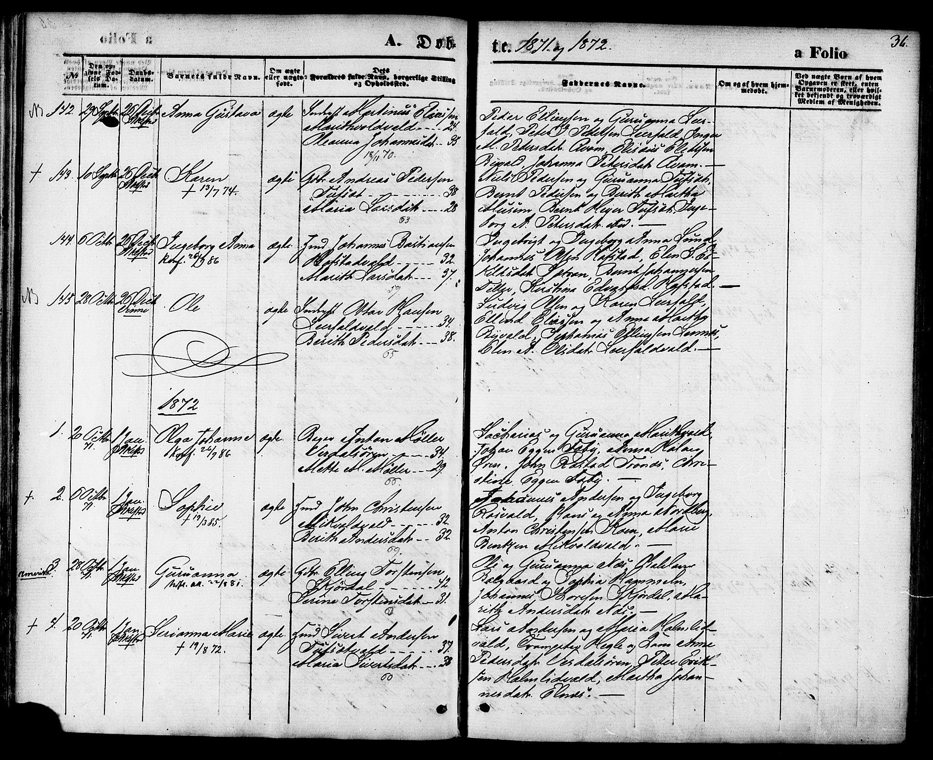 SAT, Ministerialprotokoller, klokkerbøker og fødselsregistre - Nord-Trøndelag, 723/L0242: Ministerialbok nr. 723A11, 1870-1880, s. 36
