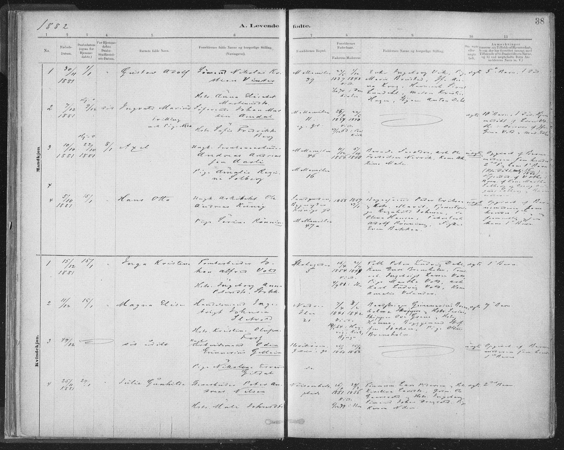 SAT, Ministerialprotokoller, klokkerbøker og fødselsregistre - Sør-Trøndelag, 603/L0162: Ministerialbok nr. 603A01, 1879-1895, s. 38