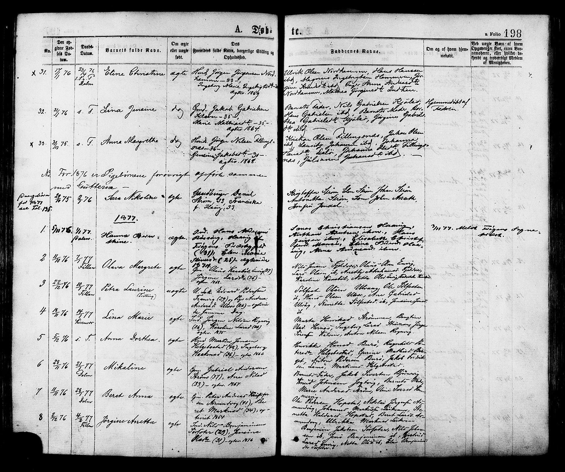 SAT, Ministerialprotokoller, klokkerbøker og fødselsregistre - Sør-Trøndelag, 634/L0532: Ministerialbok nr. 634A08, 1871-1881, s. 198