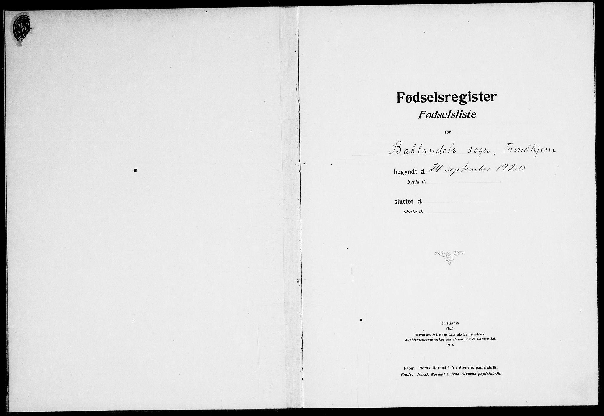 SAT, Ministerialprotokoller, klokkerbøker og fødselsregistre - Sør-Trøndelag, 604/L0233: Fødselsregister nr. 604.II.4.2, 1920-1928