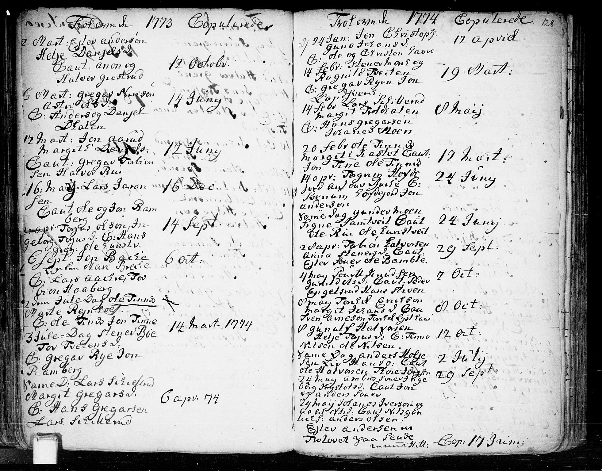 SAKO, Heddal kirkebøker, F/Fa/L0003: Ministerialbok nr. I 3, 1723-1783, s. 128