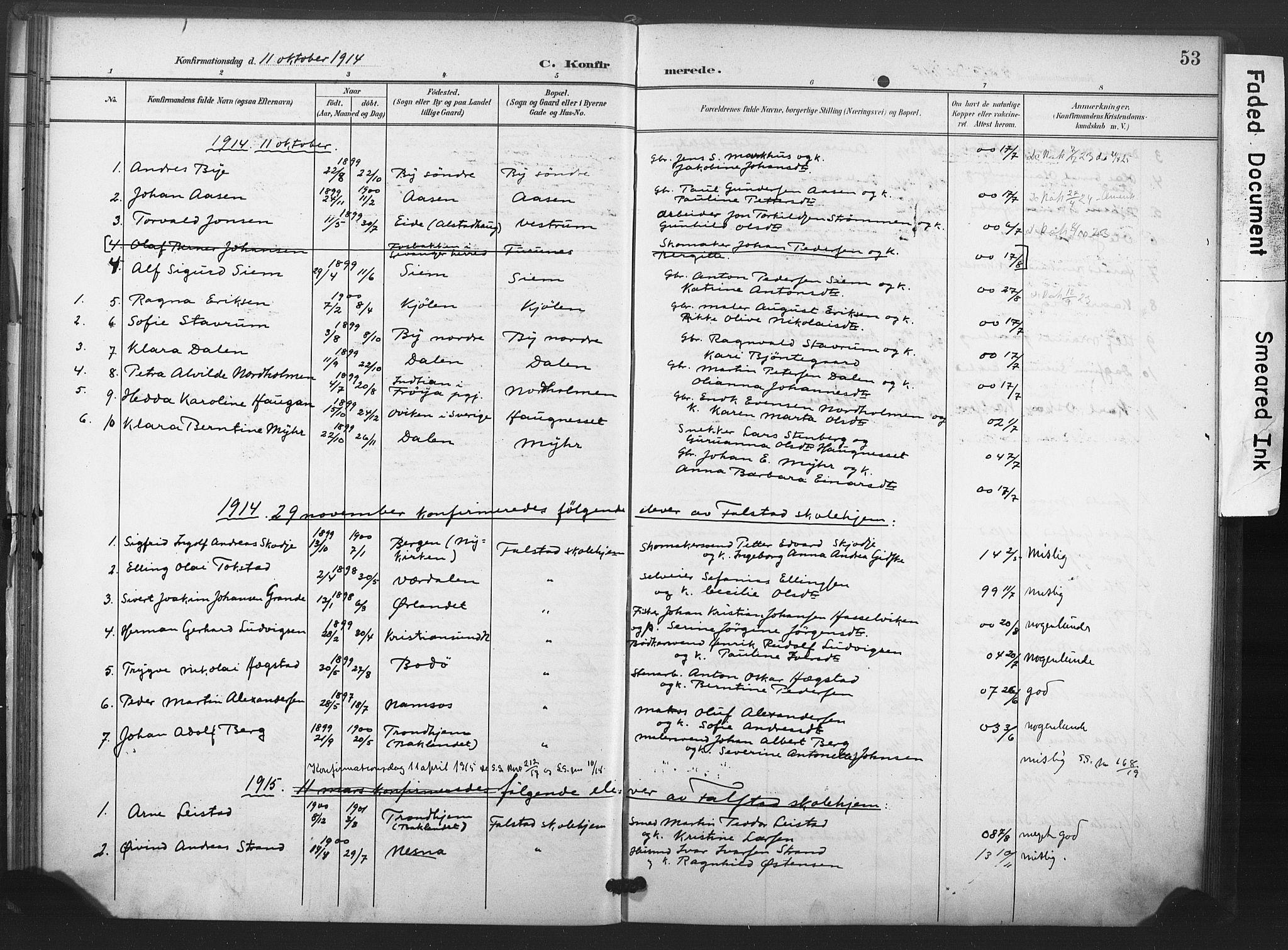 SAT, Ministerialprotokoller, klokkerbøker og fødselsregistre - Nord-Trøndelag, 719/L0179: Ministerialbok nr. 719A02, 1901-1923, s. 53