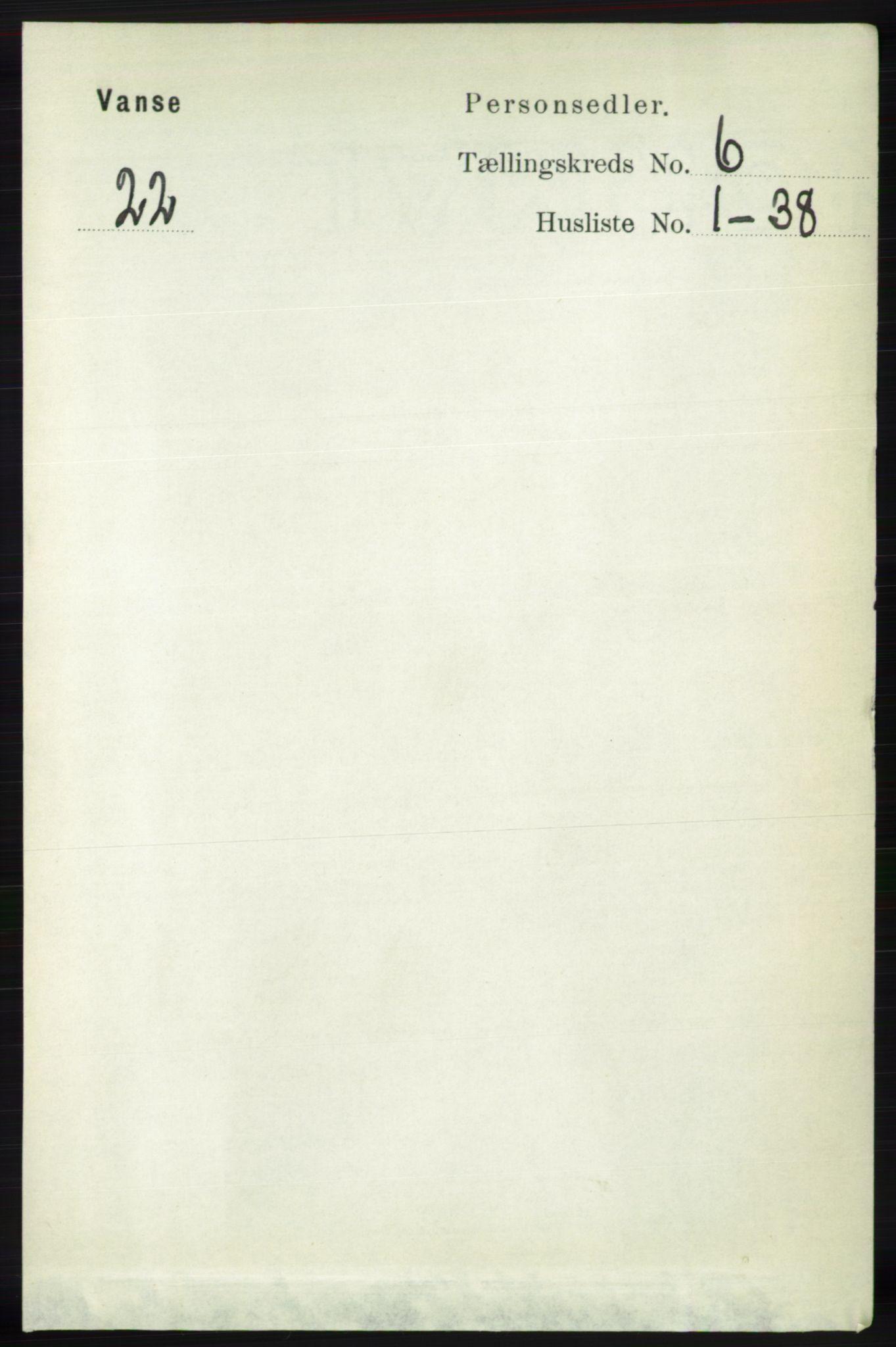 RA, Folketelling 1891 for 1041 Vanse herred, 1891, s. 3494