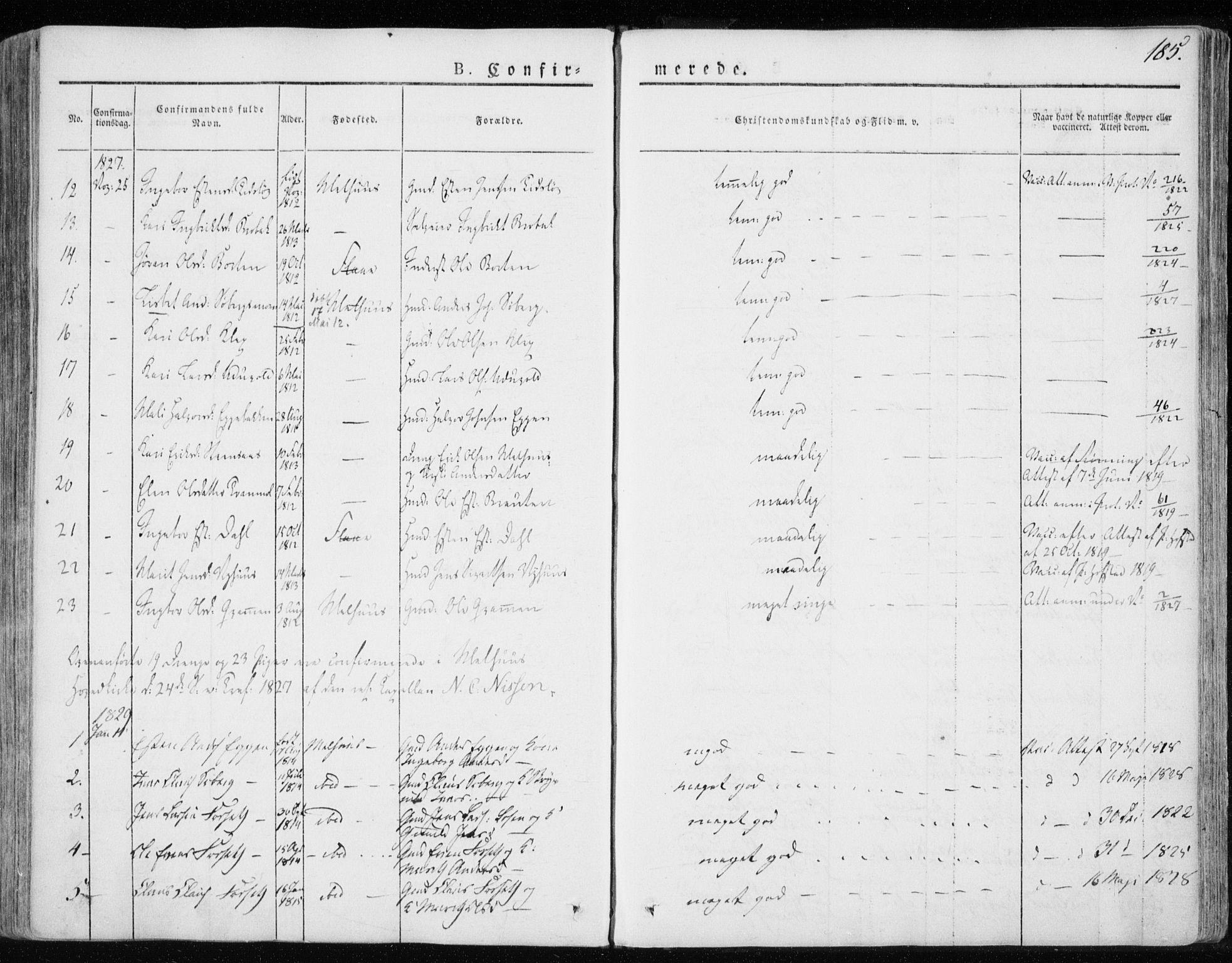 SAT, Ministerialprotokoller, klokkerbøker og fødselsregistre - Sør-Trøndelag, 691/L1069: Ministerialbok nr. 691A04, 1826-1841, s. 185
