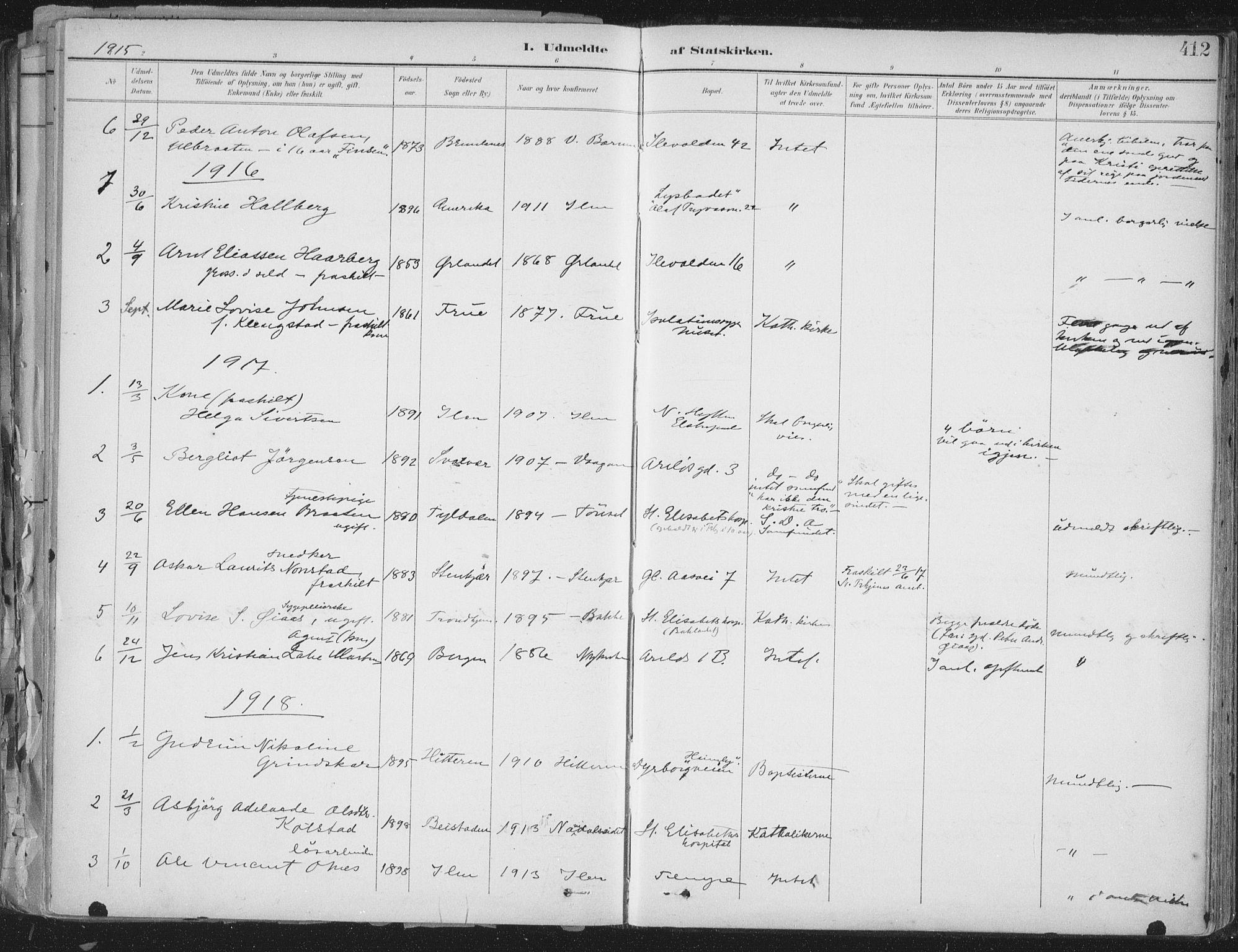 SAT, Ministerialprotokoller, klokkerbøker og fødselsregistre - Sør-Trøndelag, 603/L0167: Ministerialbok nr. 603A06, 1896-1932, s. 412